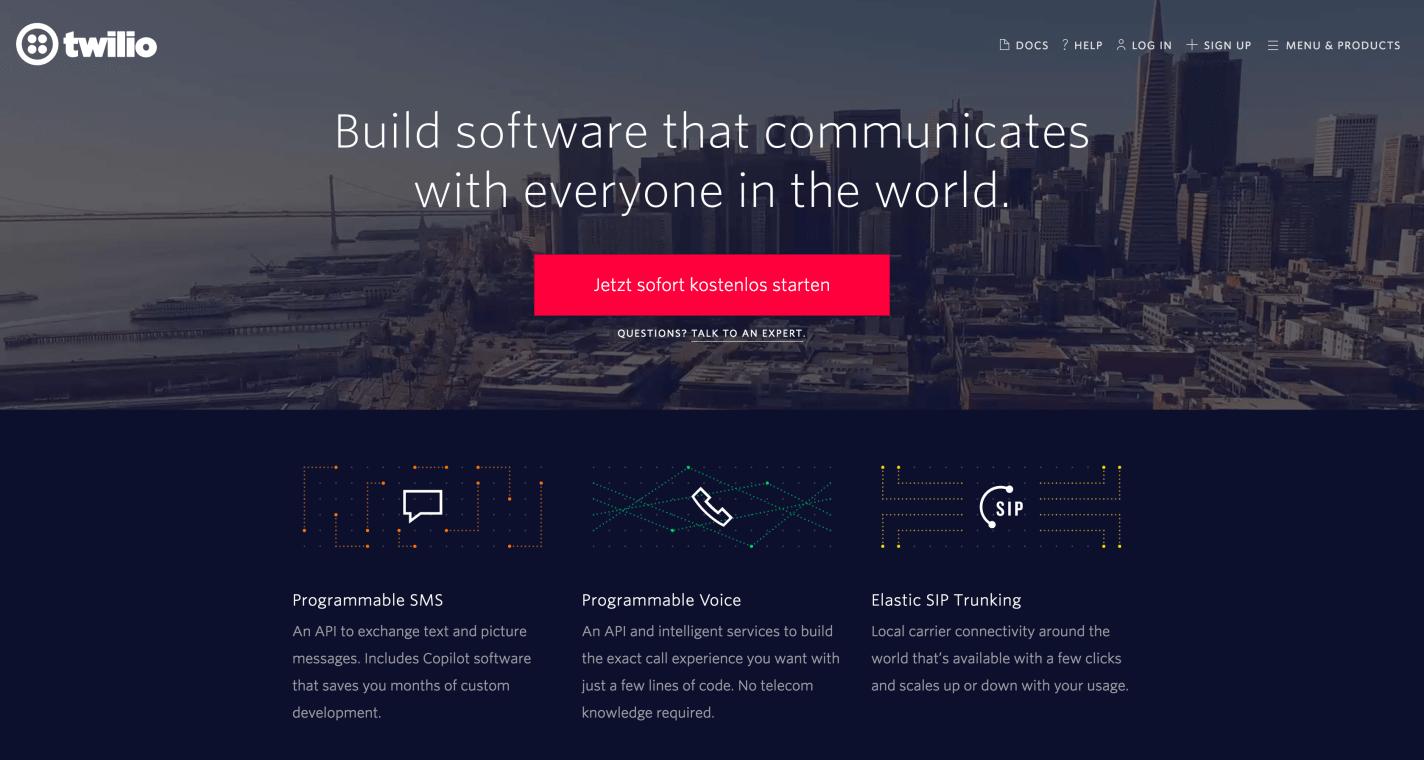 Website of Twilio