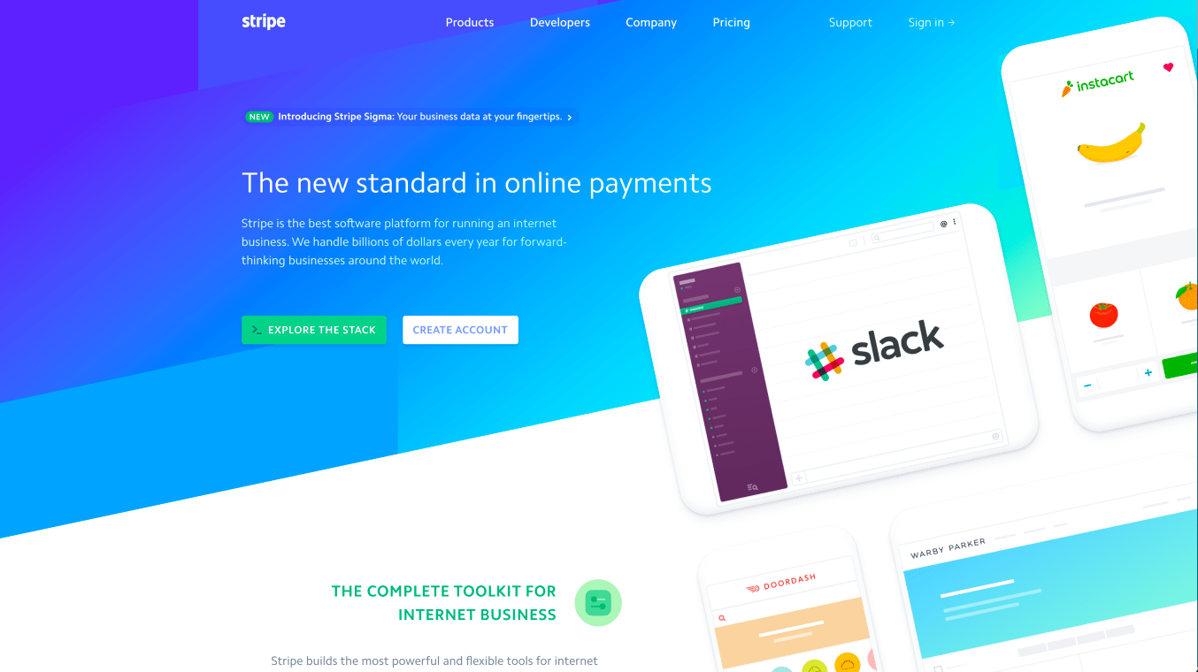 Website of Stripe
