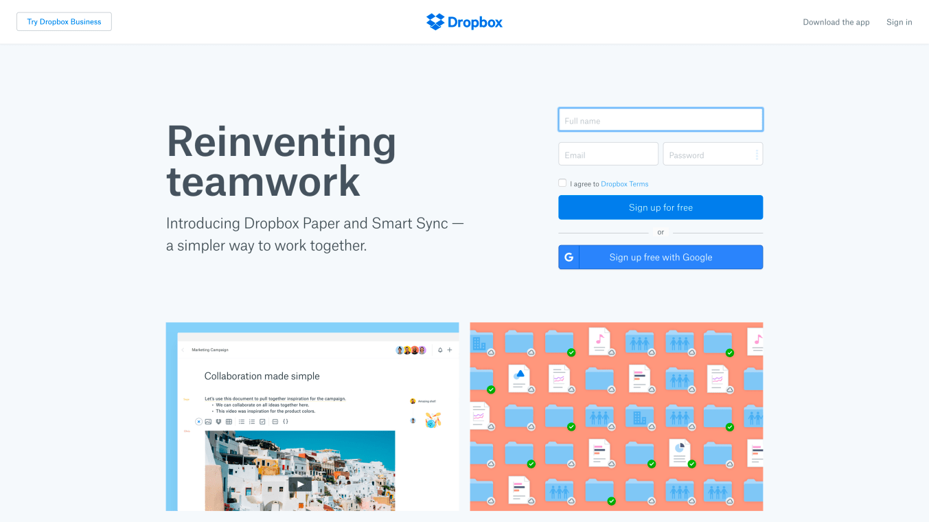 Website of Dropbox