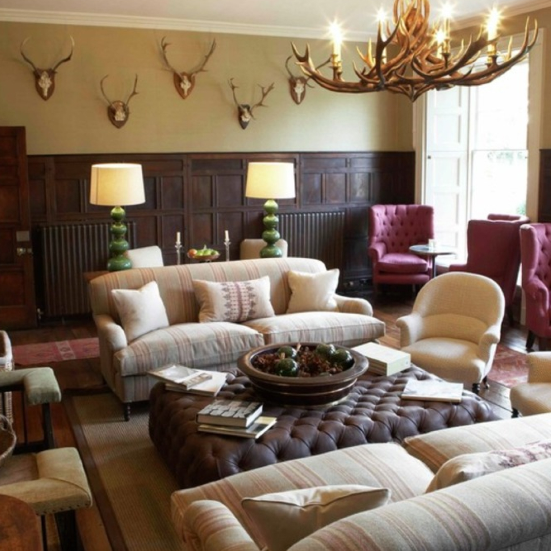 A country style lounge interior.