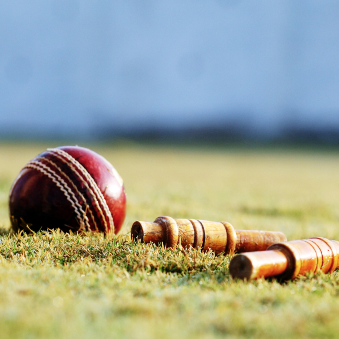 A cricket ball and two wicket bails on the ground.