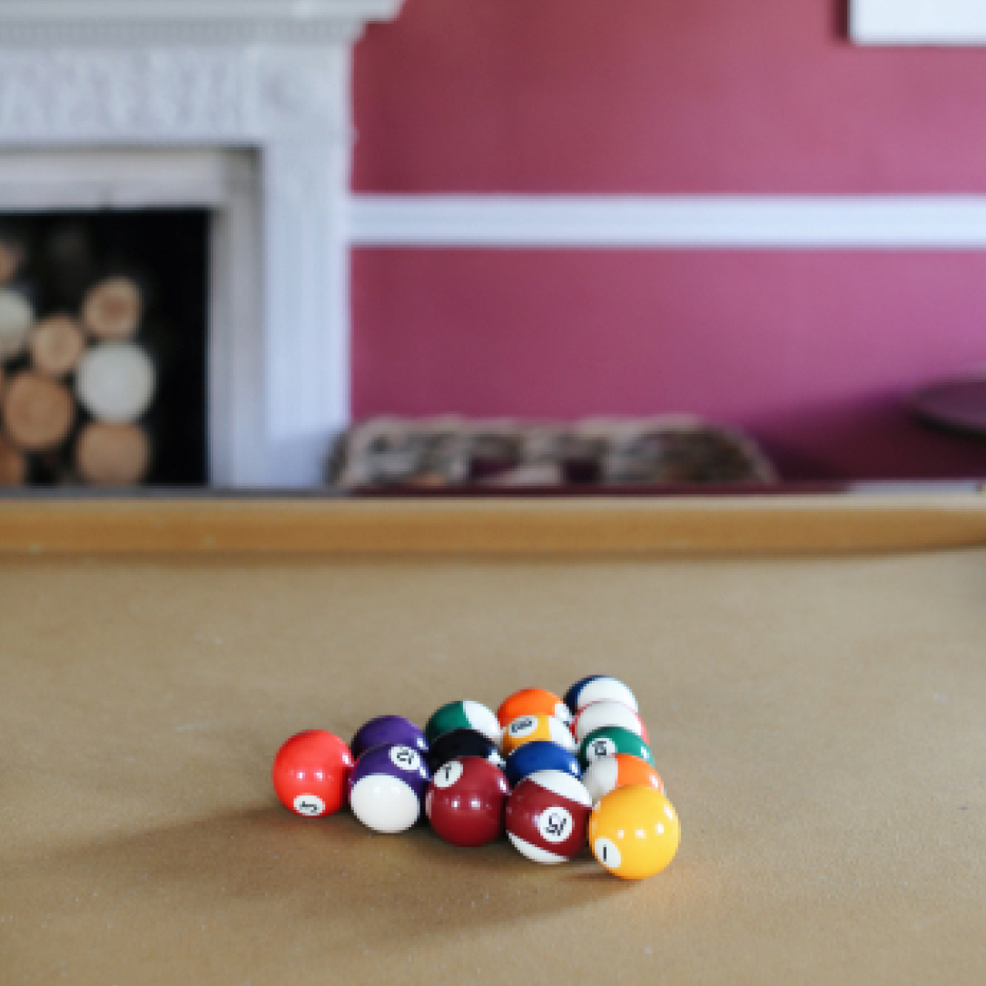 A pool table.
