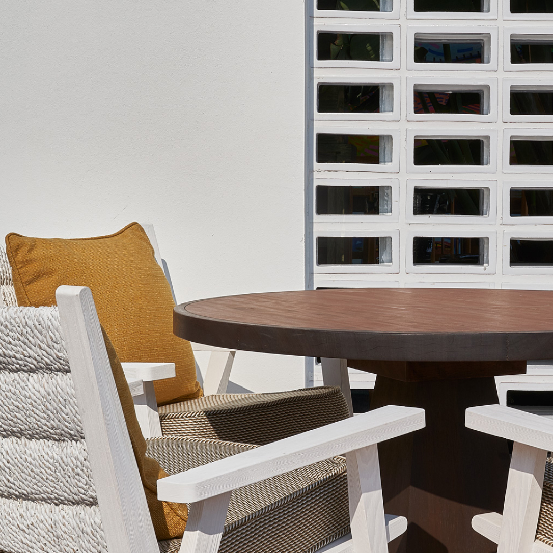 Outdoor seating details.
