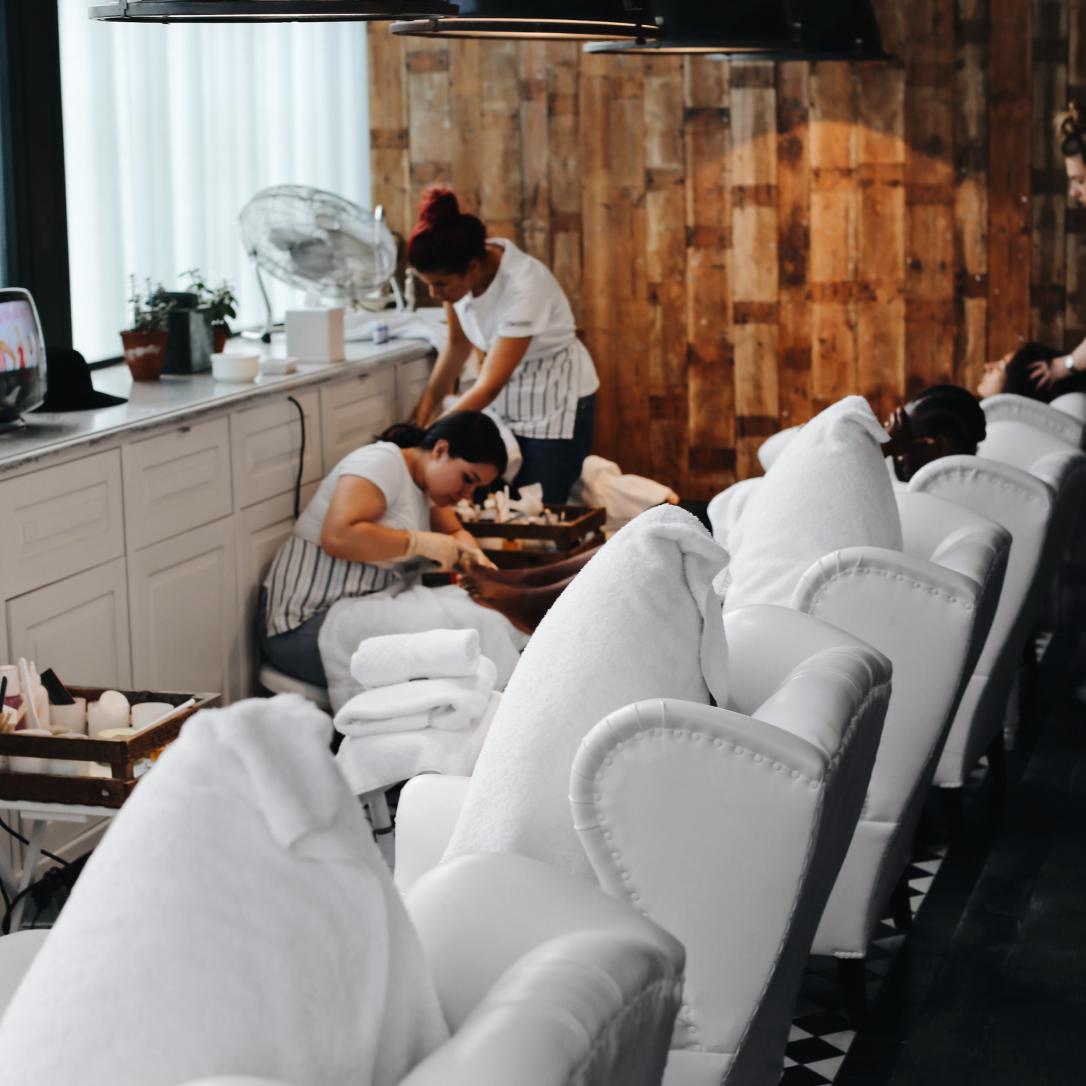 A woman undergoes a beauty treatment.