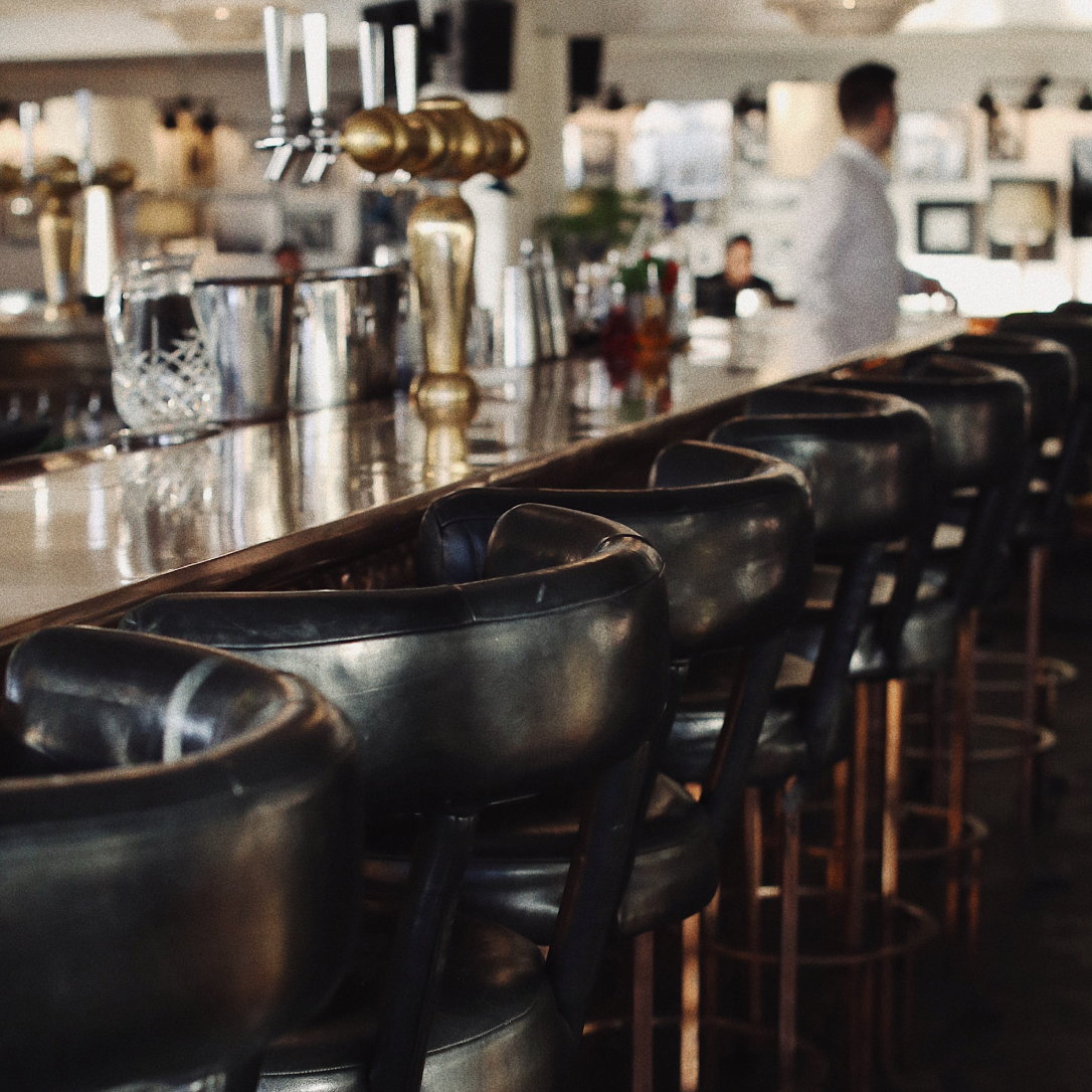 A bar with high stools.