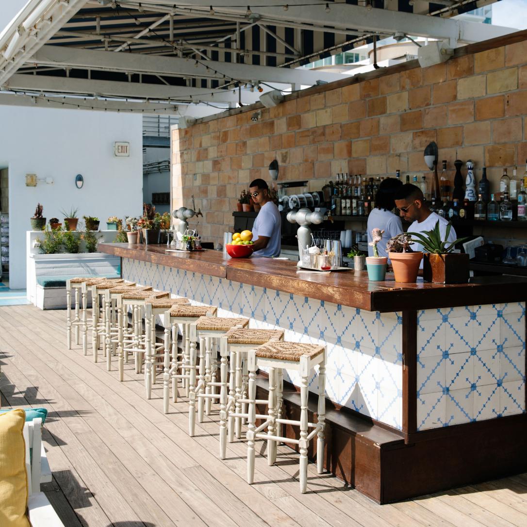 An outdoor bar area.