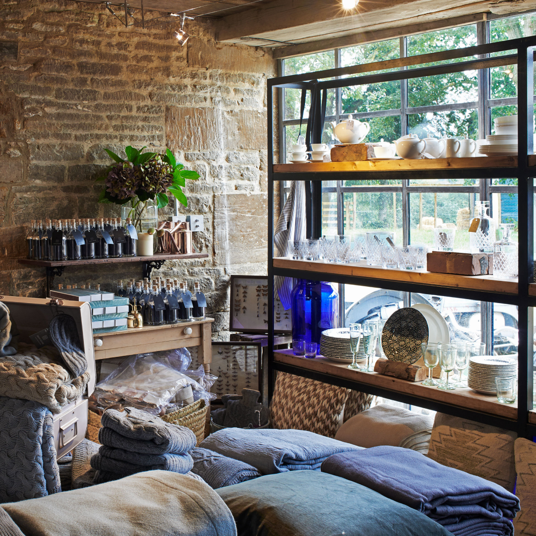 The interior of a home furnishings shop.