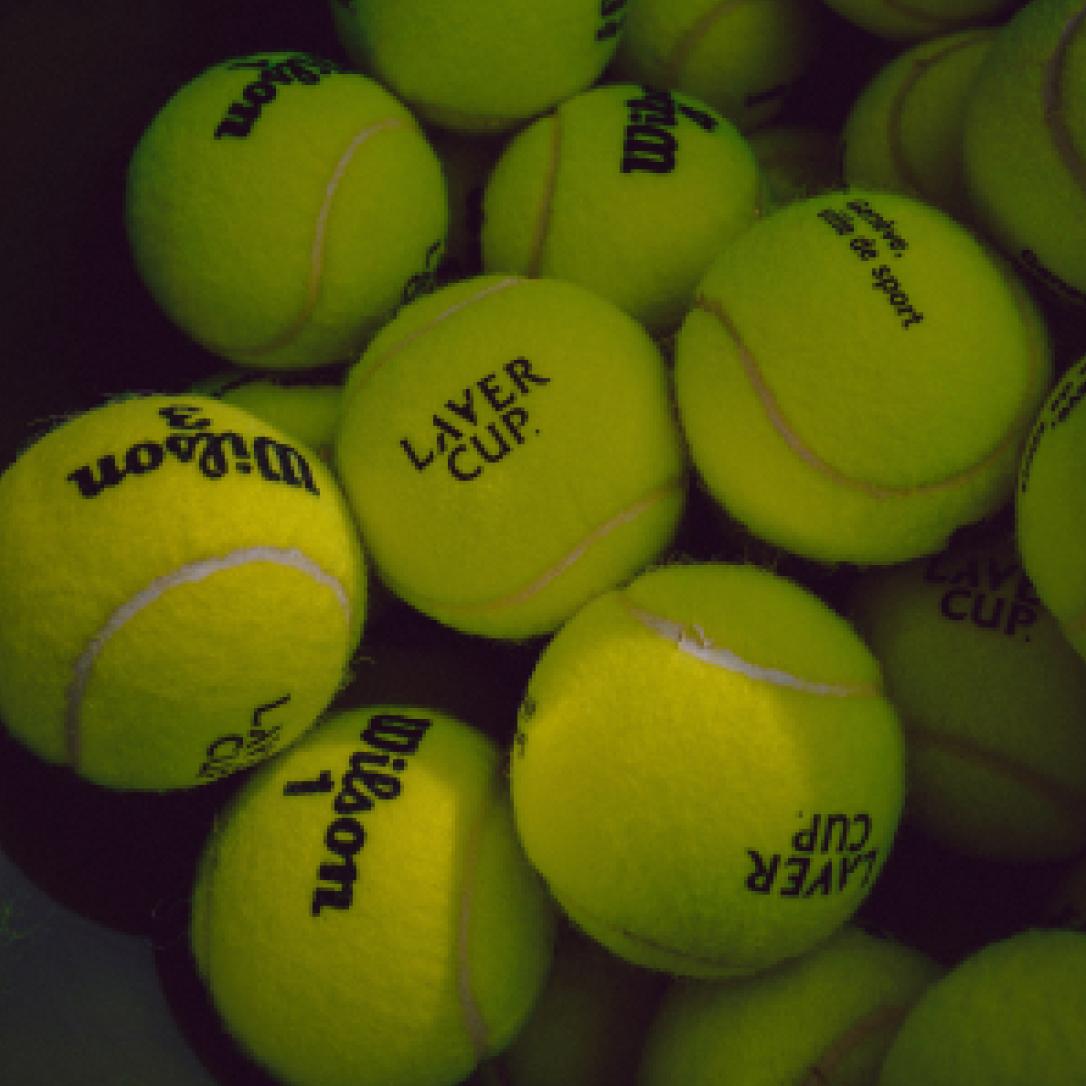 A collection of green tennis balls.
