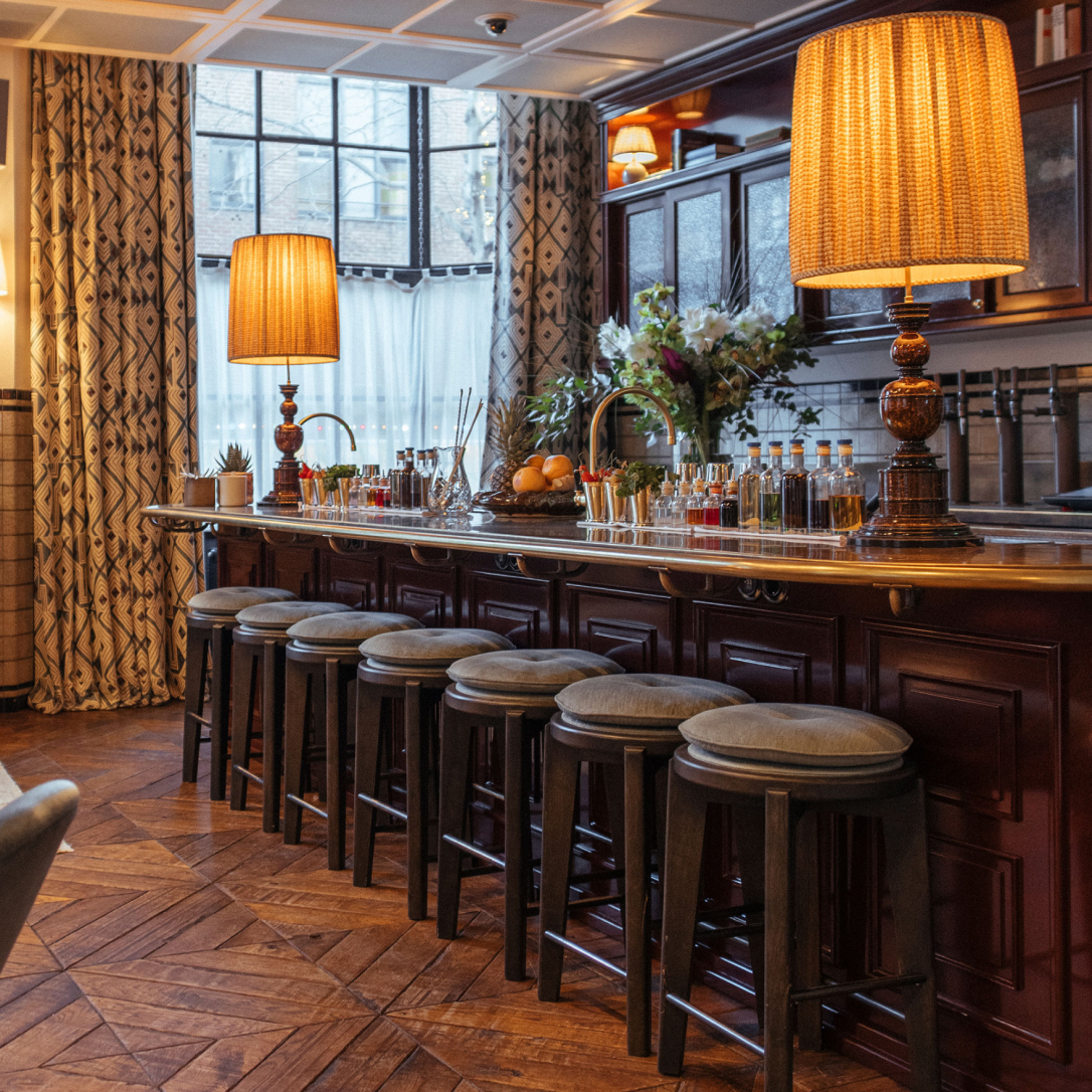 A bar with stools.