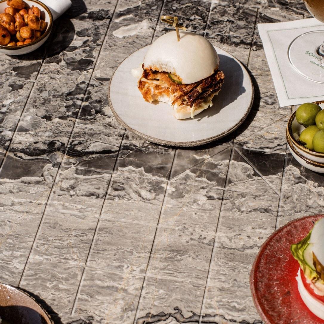 Bao buns on plates.