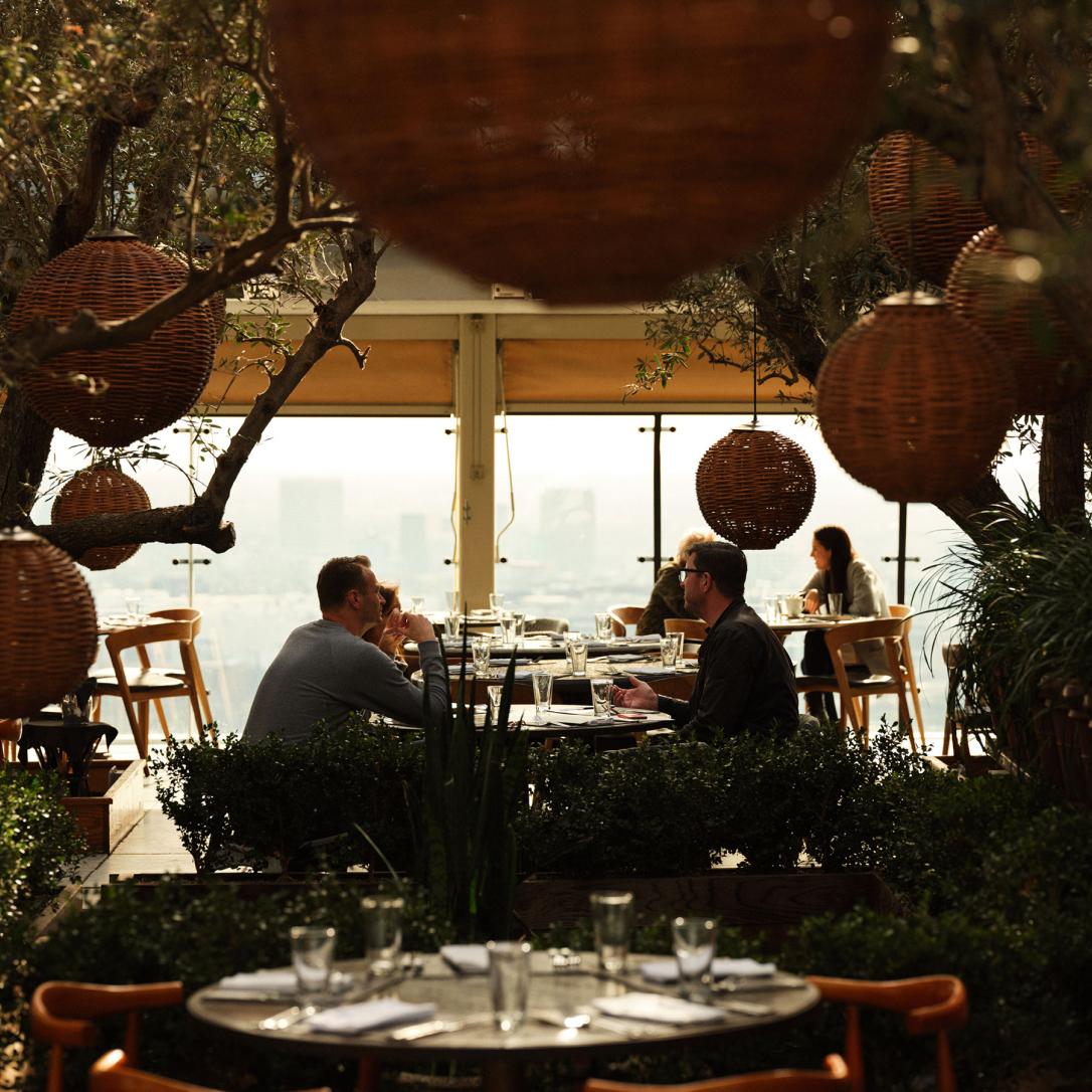 People dine in a restaurant full of vegetation.