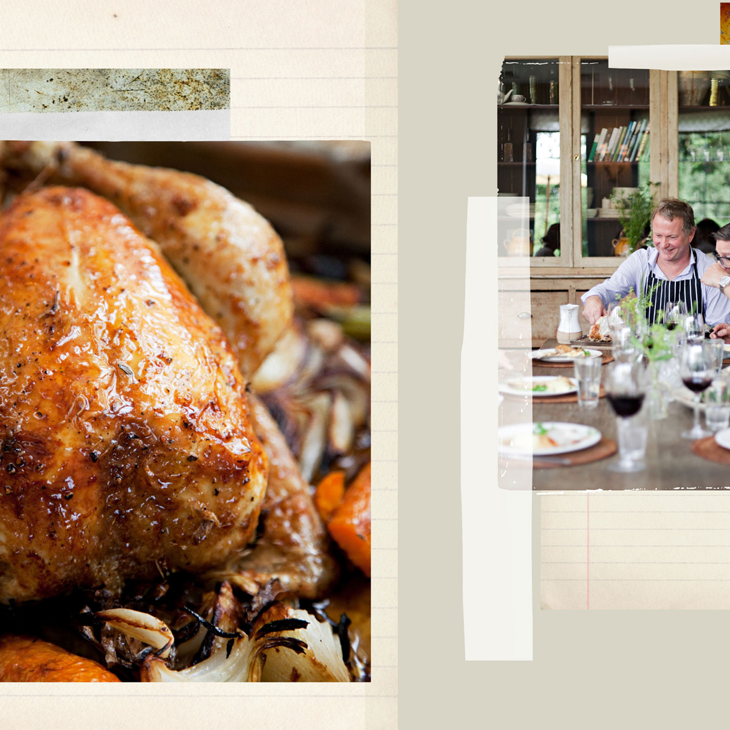 A collage of a roast chicken dinner.