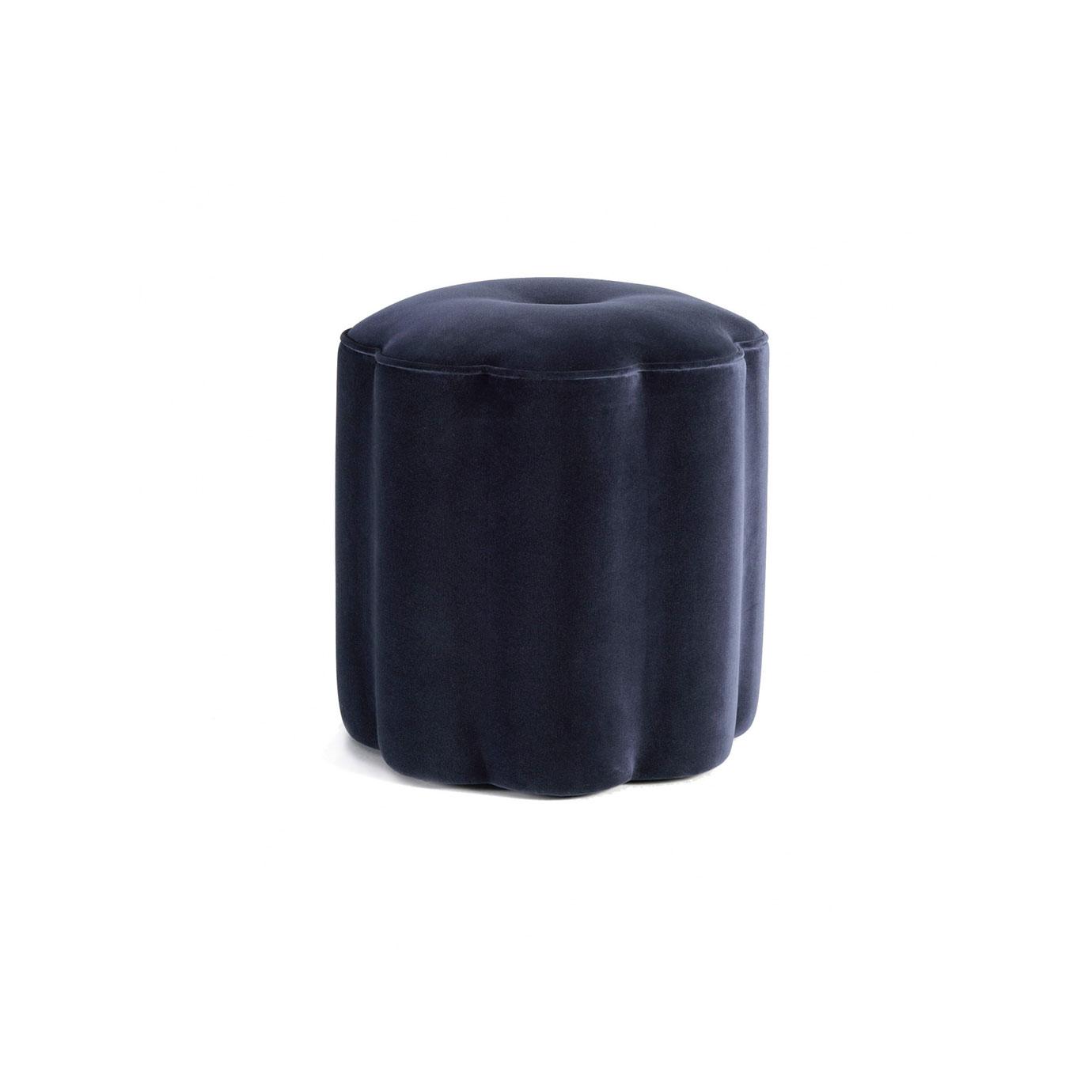 A dark blue footstool.