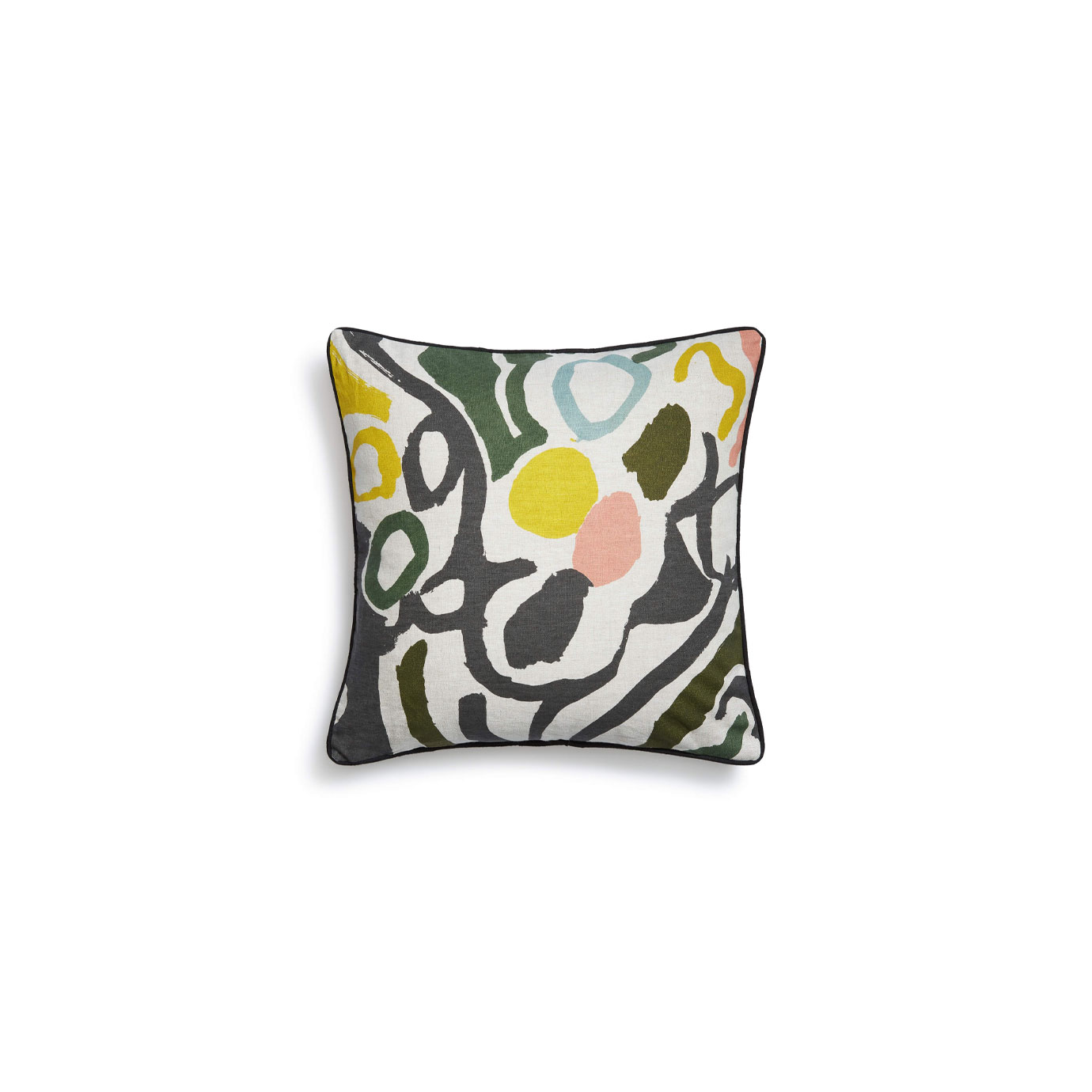 A cushion with a multi-coloured abstract pattern on it.