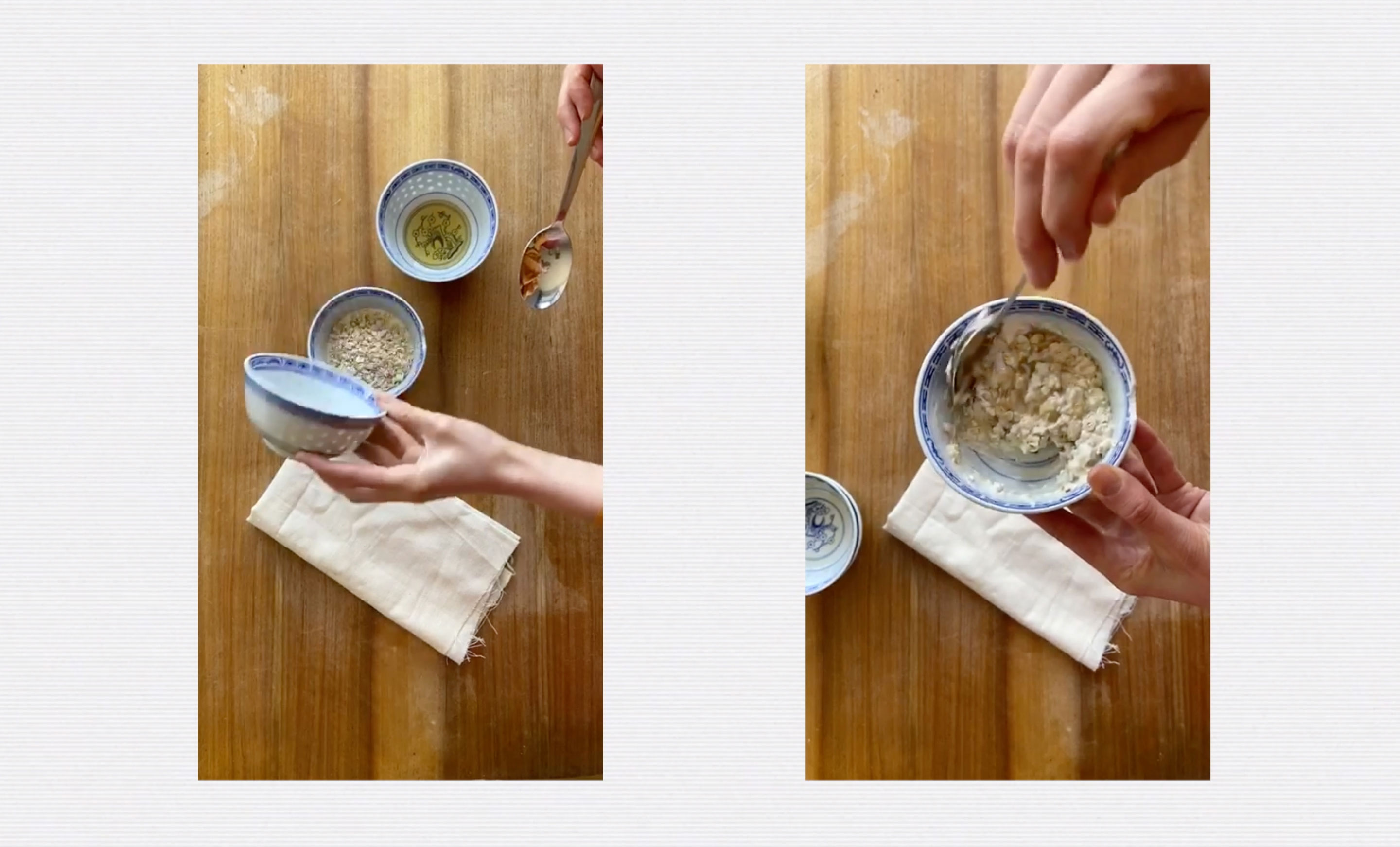 Two images on a grey background of someone mixing oats with yoghurt and honey.