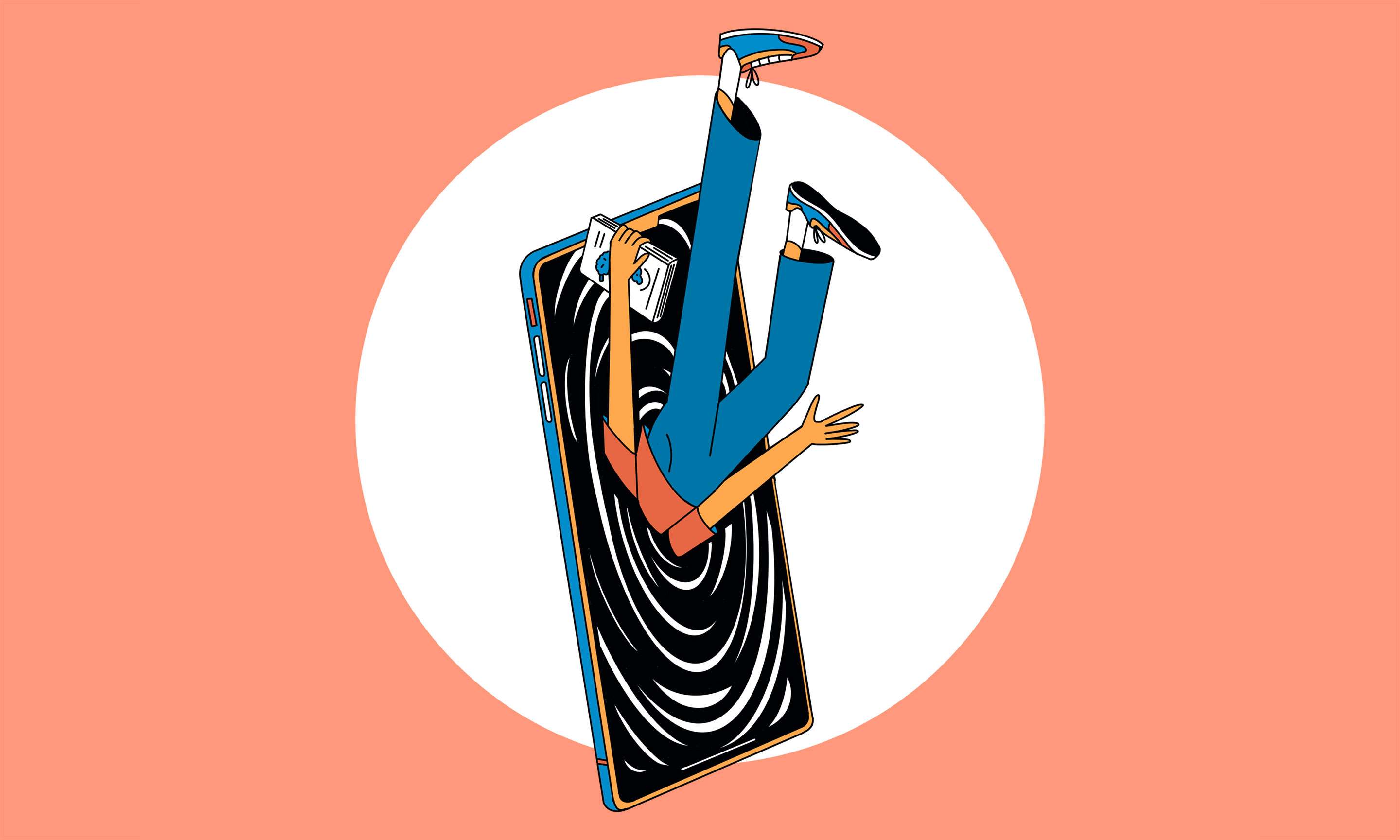 Illustration of a person being sucked into a mobile phone.