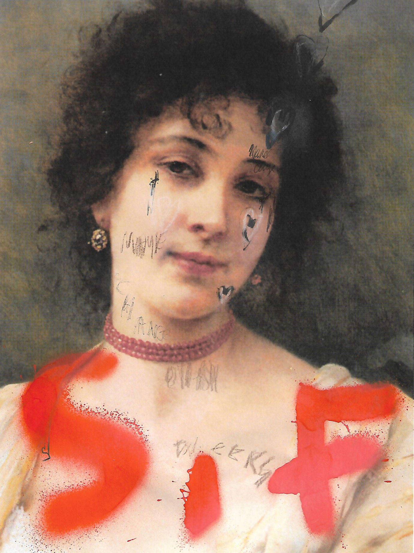A classical painting of a woman with SIF written in red graffiti on it.
