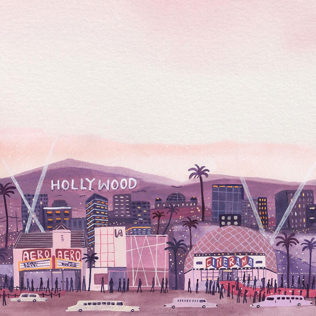 illustration of hollywood skyline