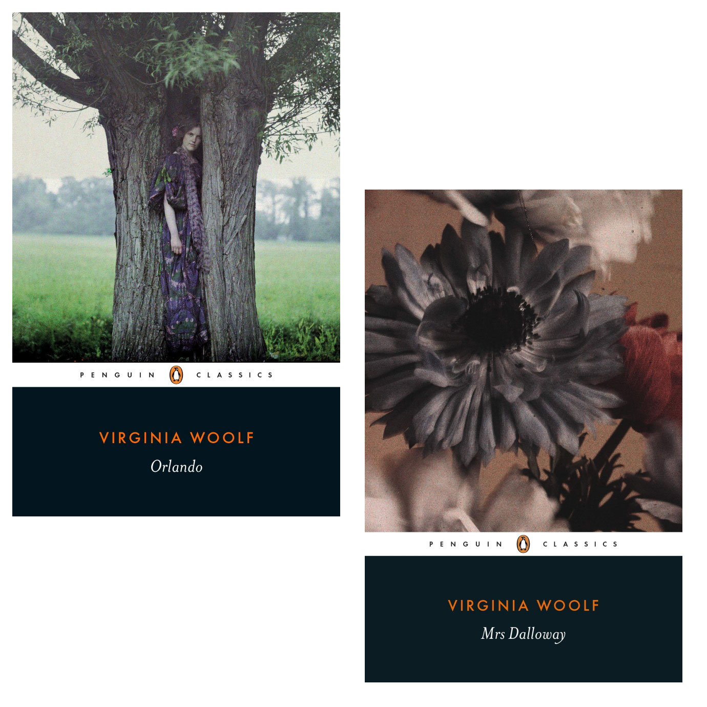 The bookcovers for Orlando and Mrs Dalloway.