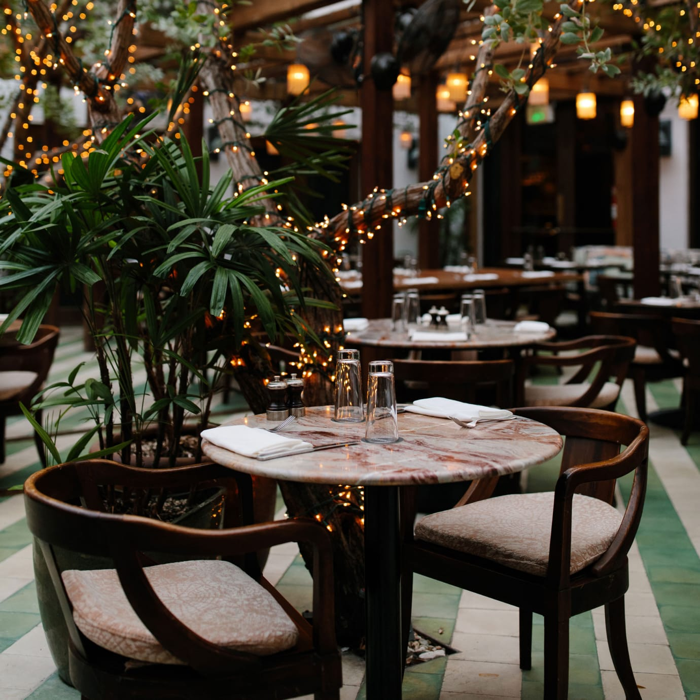 A restaurant interior with plant and trees around the tables and fairy lights on the trees.