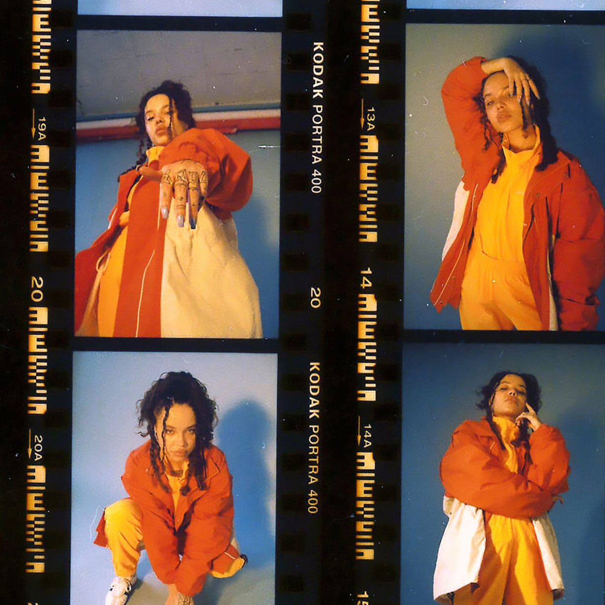 A contact sheet containing various shots of a young female singer.