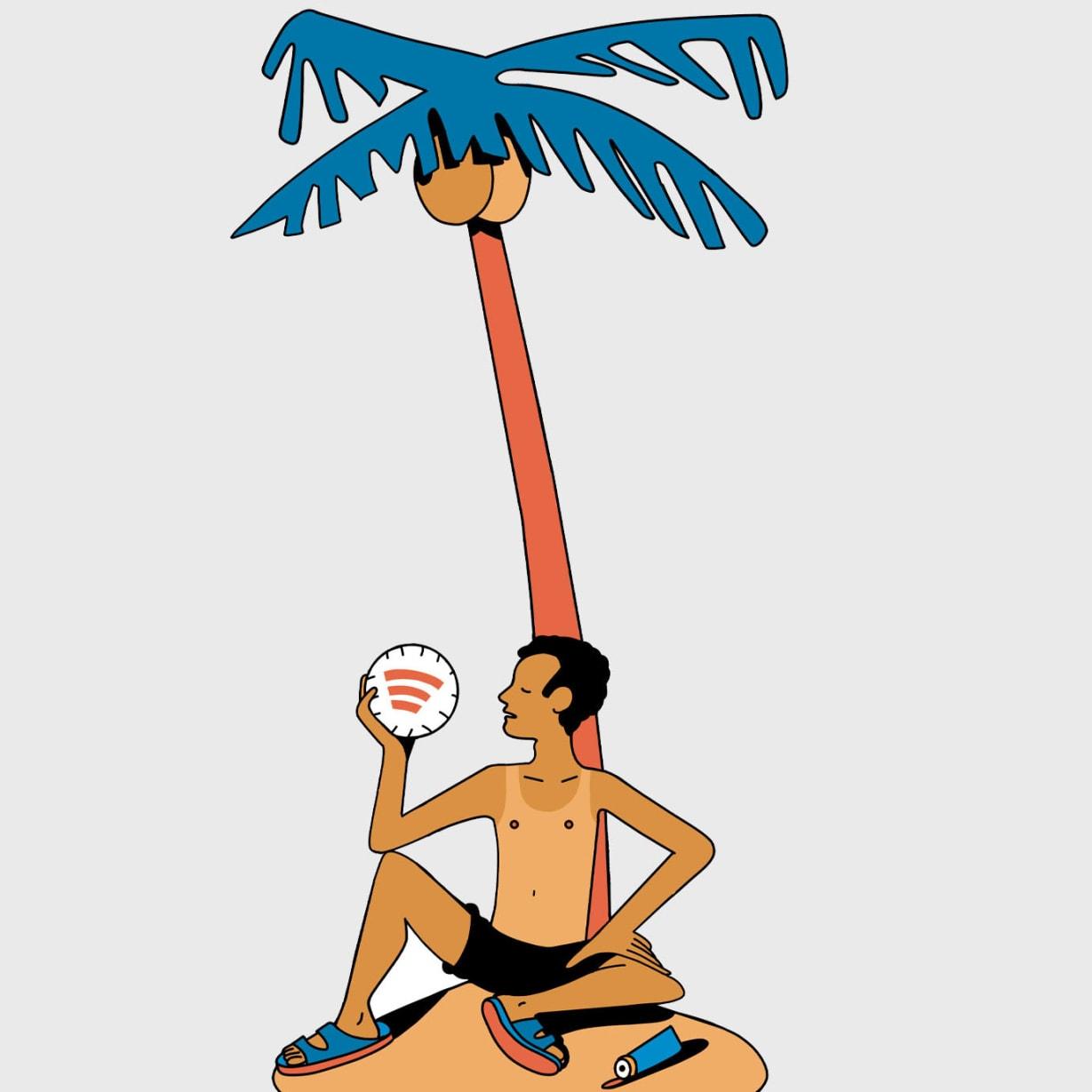 illustration of man holding coconut on desert island