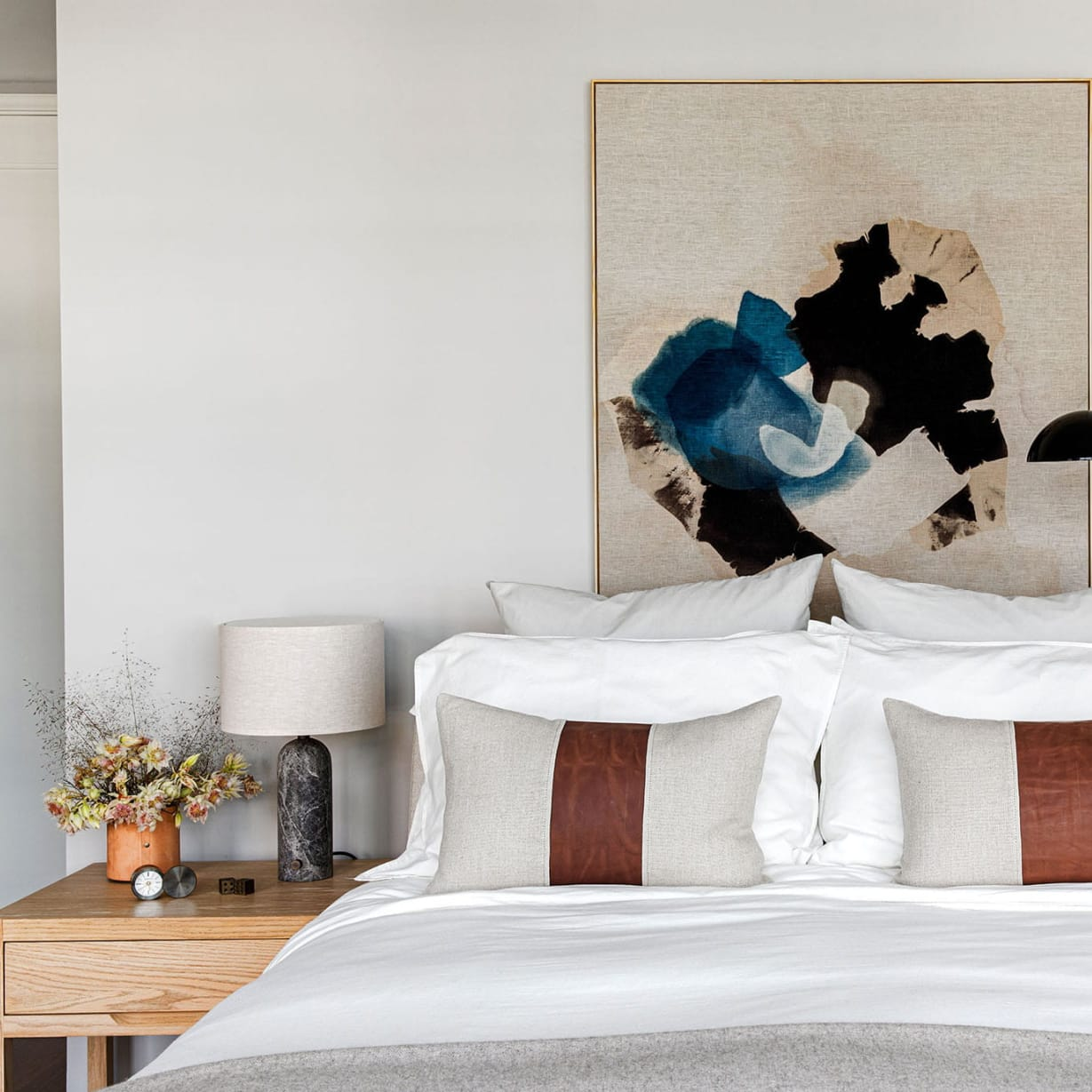 framed art above bed