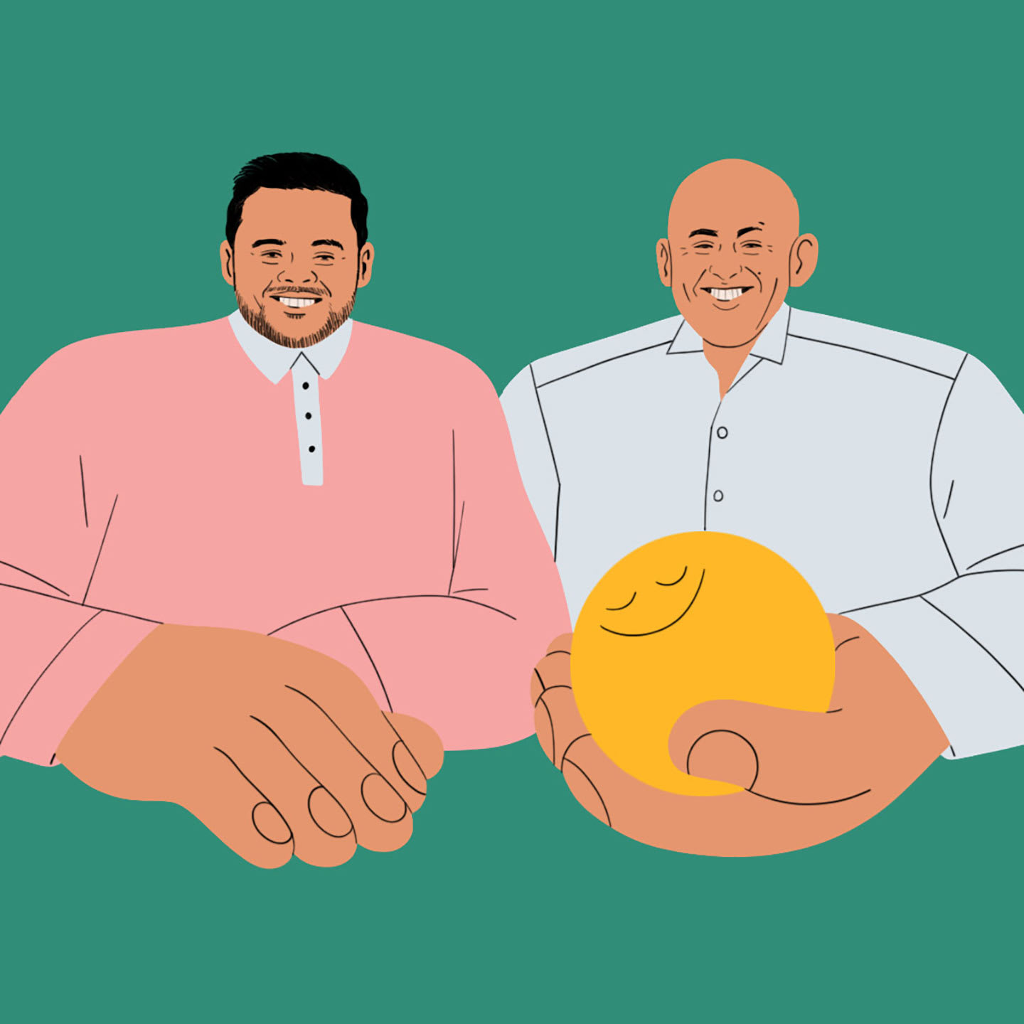 An illustration of two men with big hands, one of which is holding a stress ball.