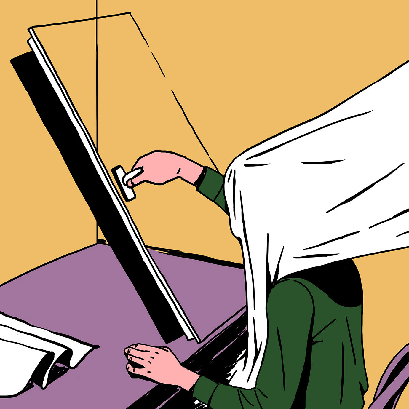 A surreal illustration of a person opening a mirrored door with a white blanket on their head.