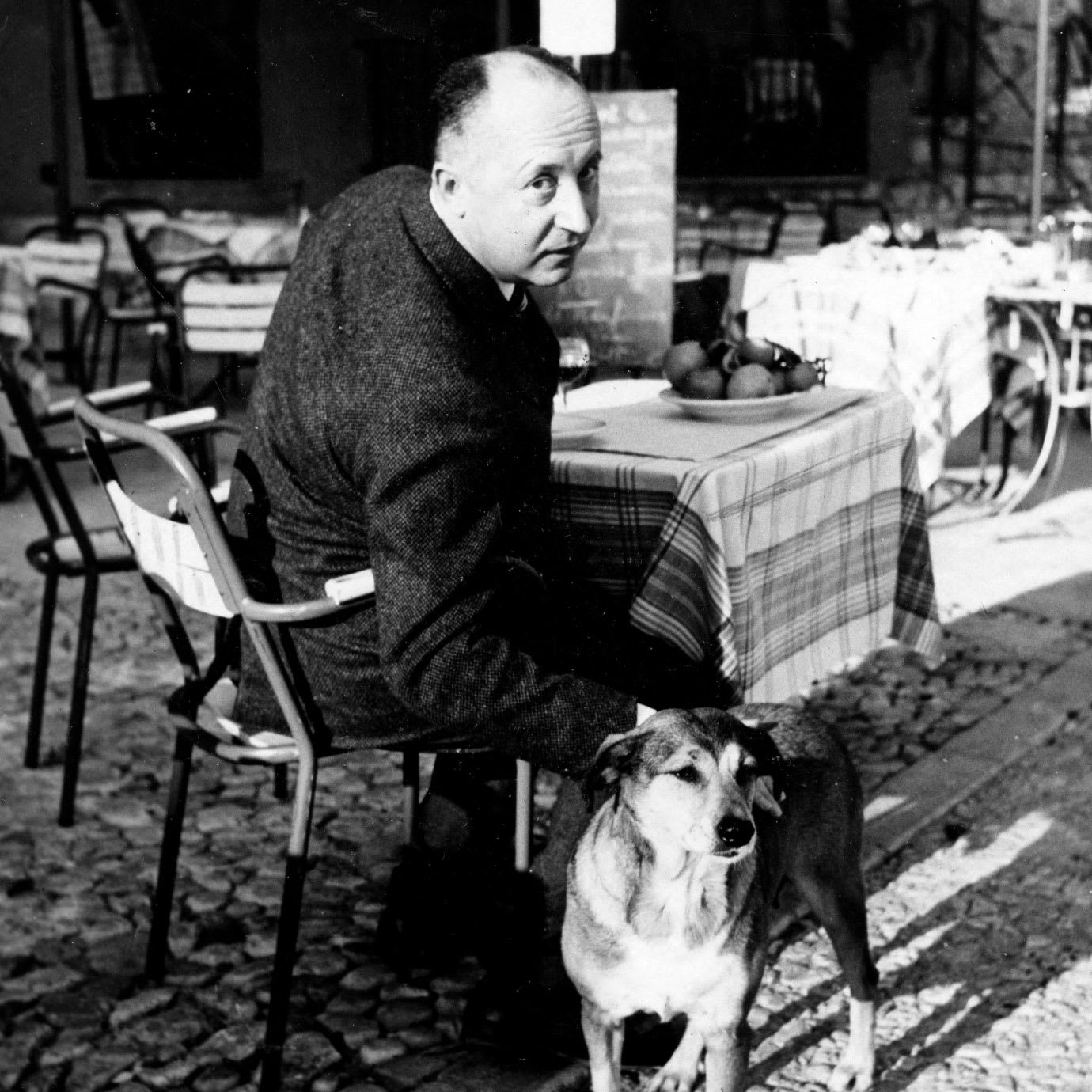 A man patting a dog while sat at an outside restaurant table.