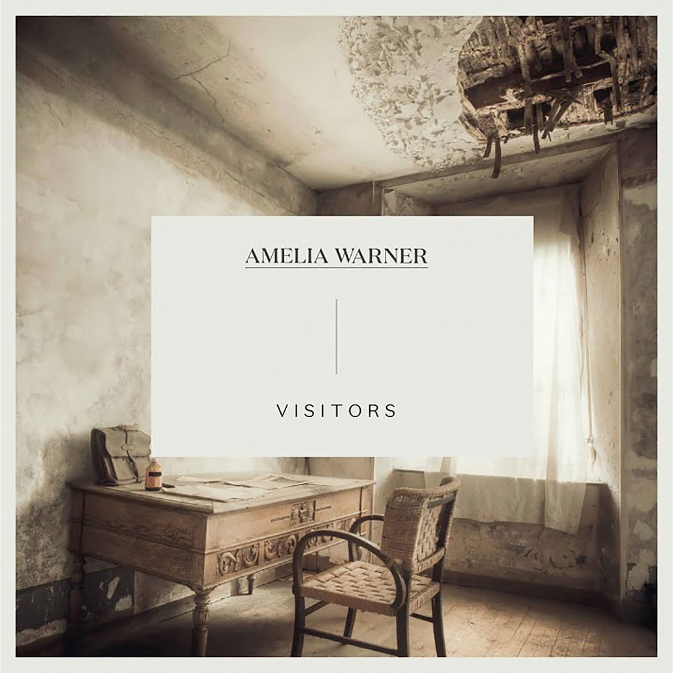 An album cover with an image of an old room on it and Amelia Warner Visitors written on it.