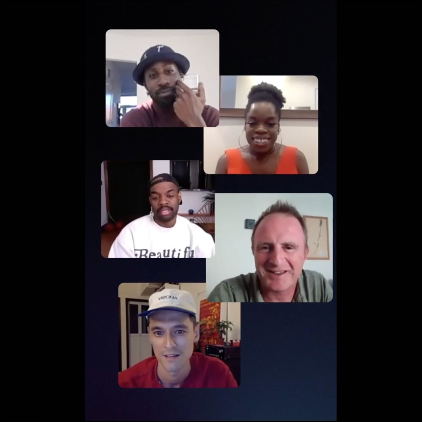 Five people having a video call conversation.