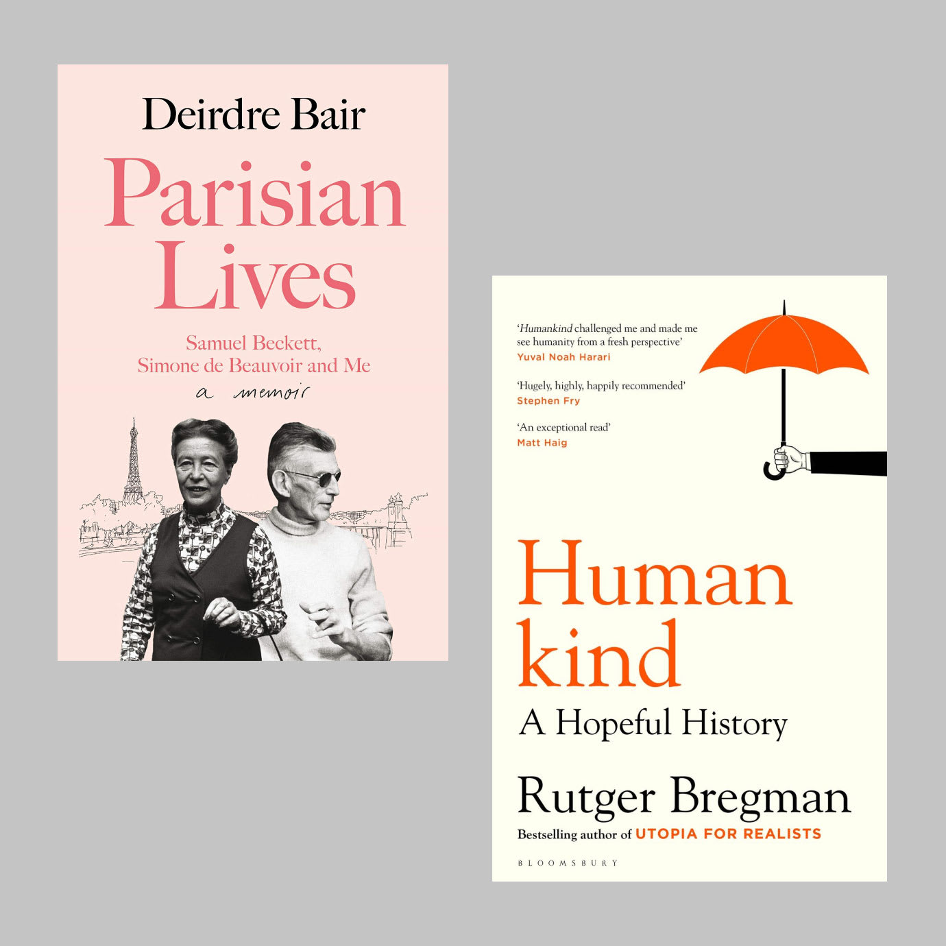 Two book covers on a grey background.