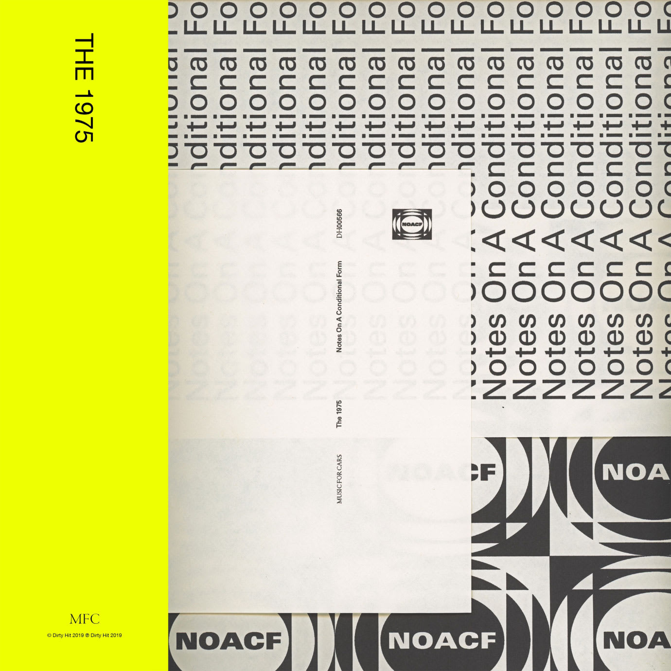A grey and fluorescent yellow graphic album cover with The 1975 written on it.