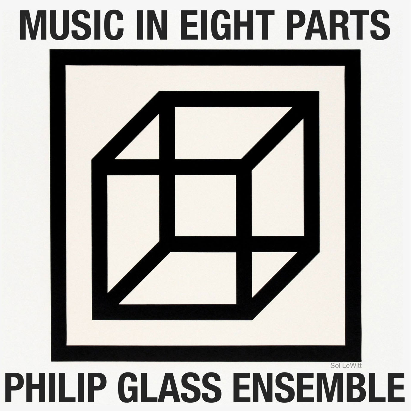 A cubist album cover with Philip Glass written on it.