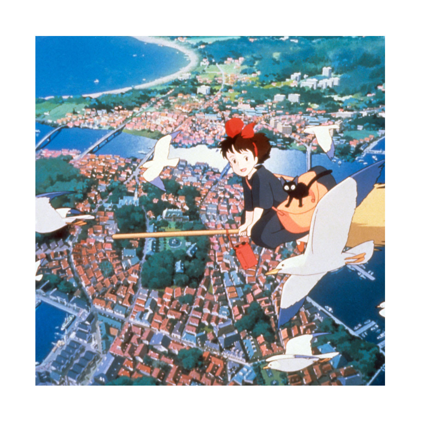 A cartoon of a girl flying above a city on a broomstick.