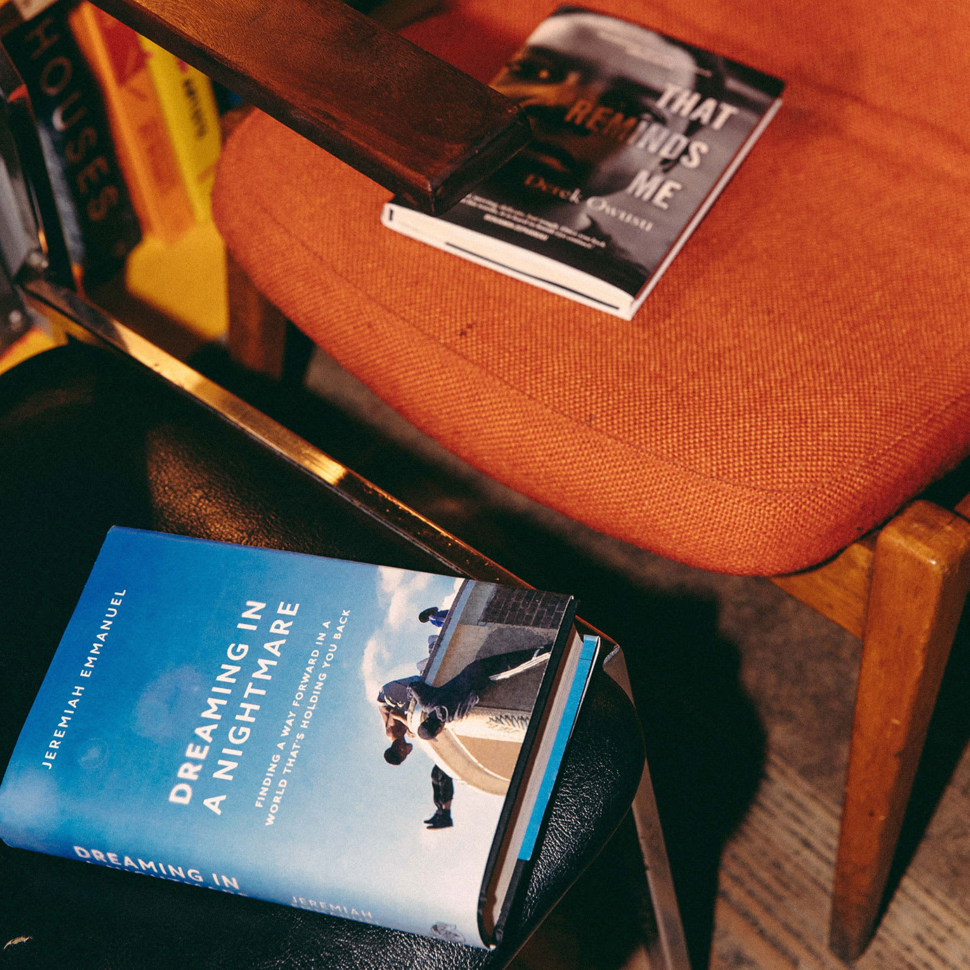 Two books on chairs.