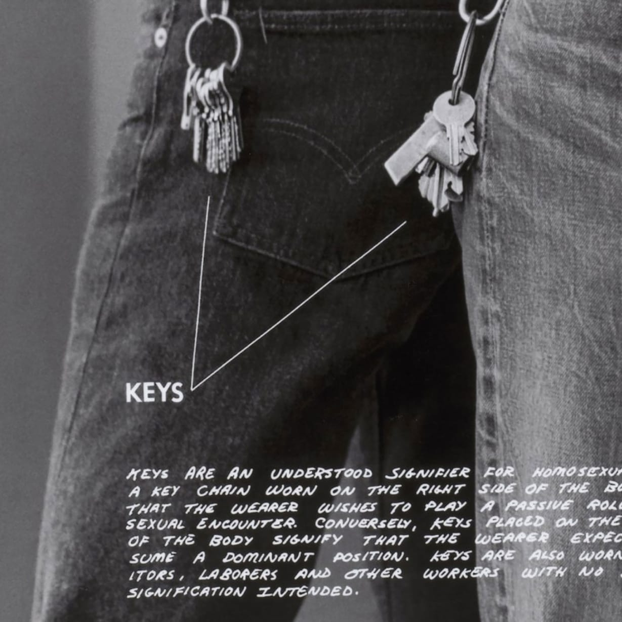 The legs of two people wearing tight jeans with an annotation on their keys.