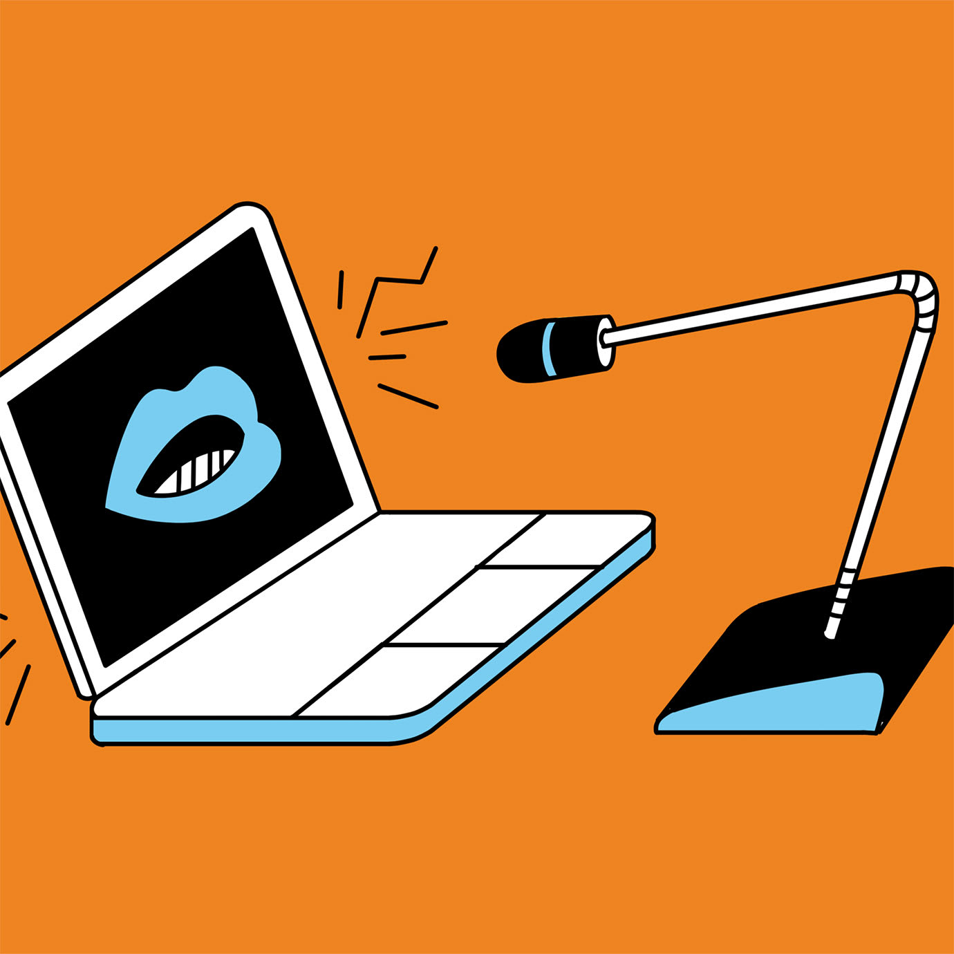 An illustration of a laptop with a mouth talking into a microphone.