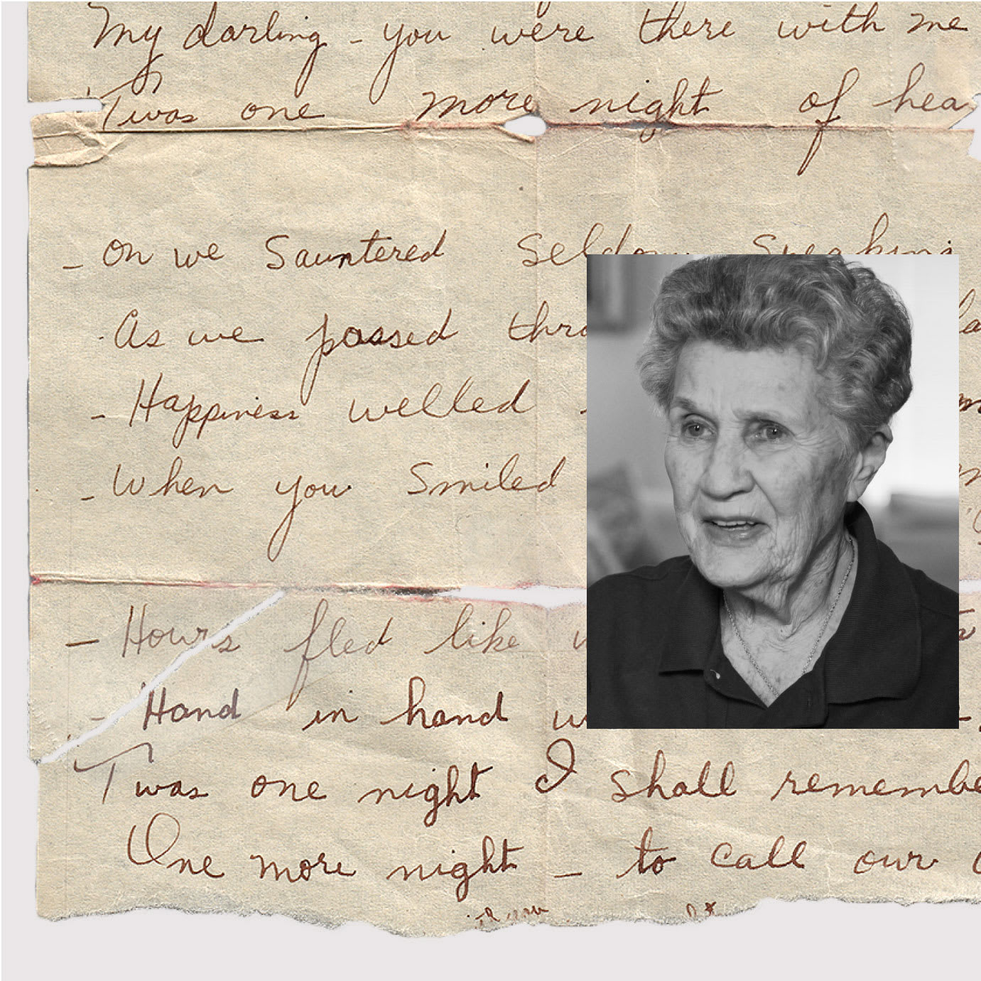 A collage of a photo of an elderly woman and a handwritten letter.