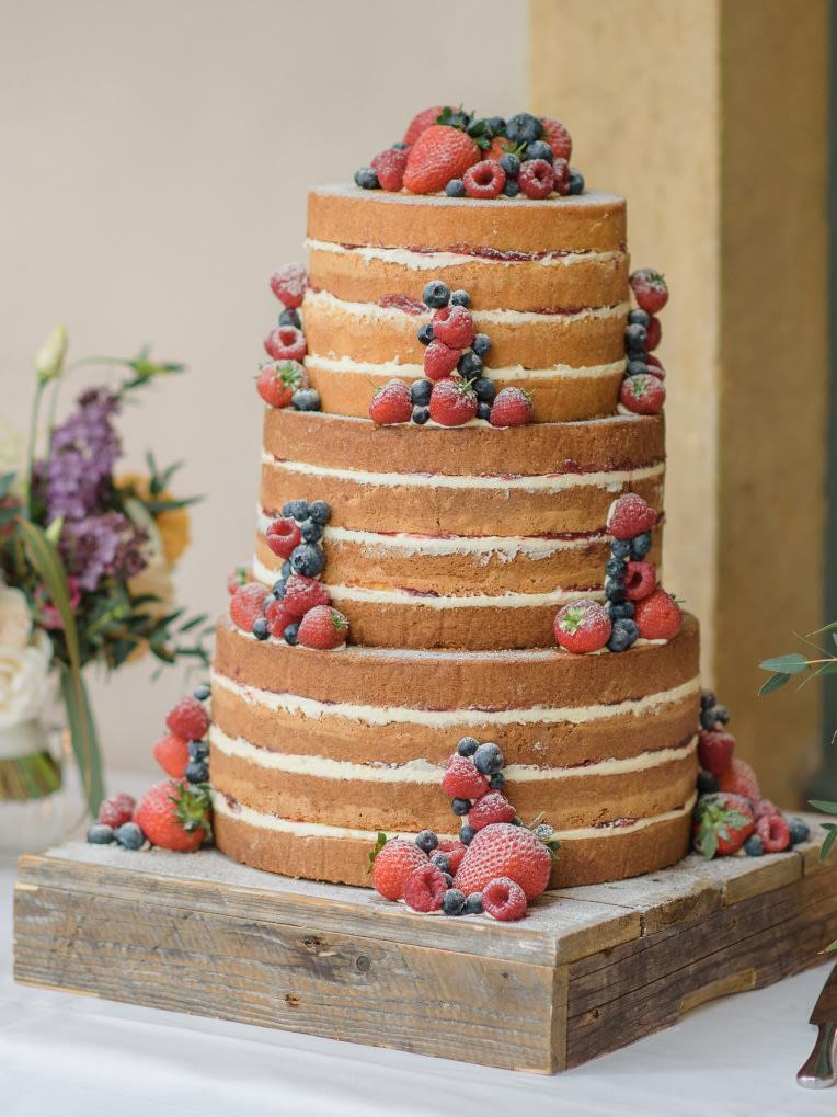 A tall sponge wedding cake.