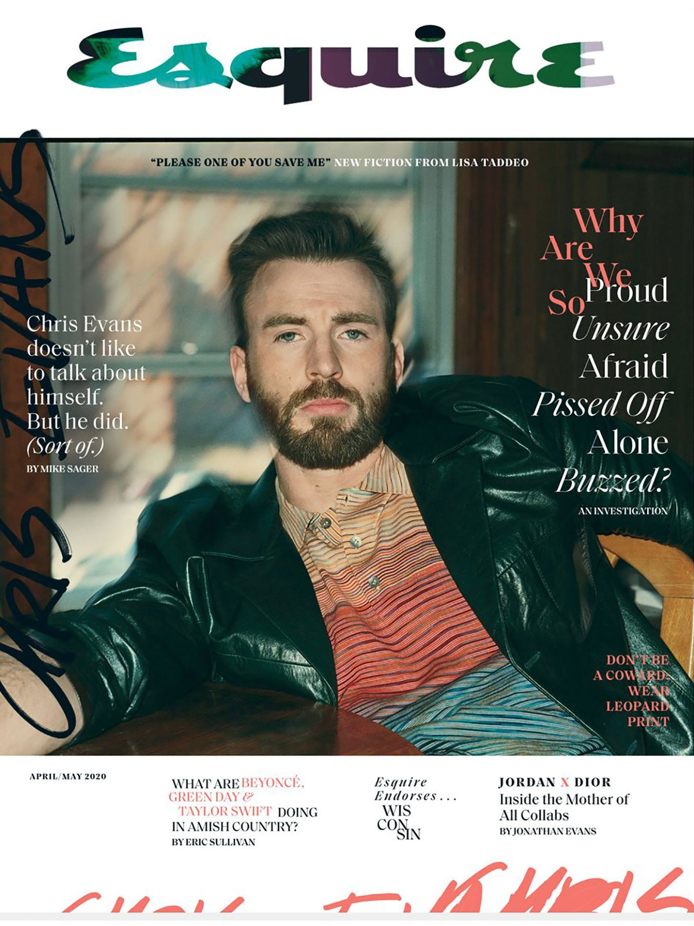 A cover of Esquire magazine with the portrait of a man on it.