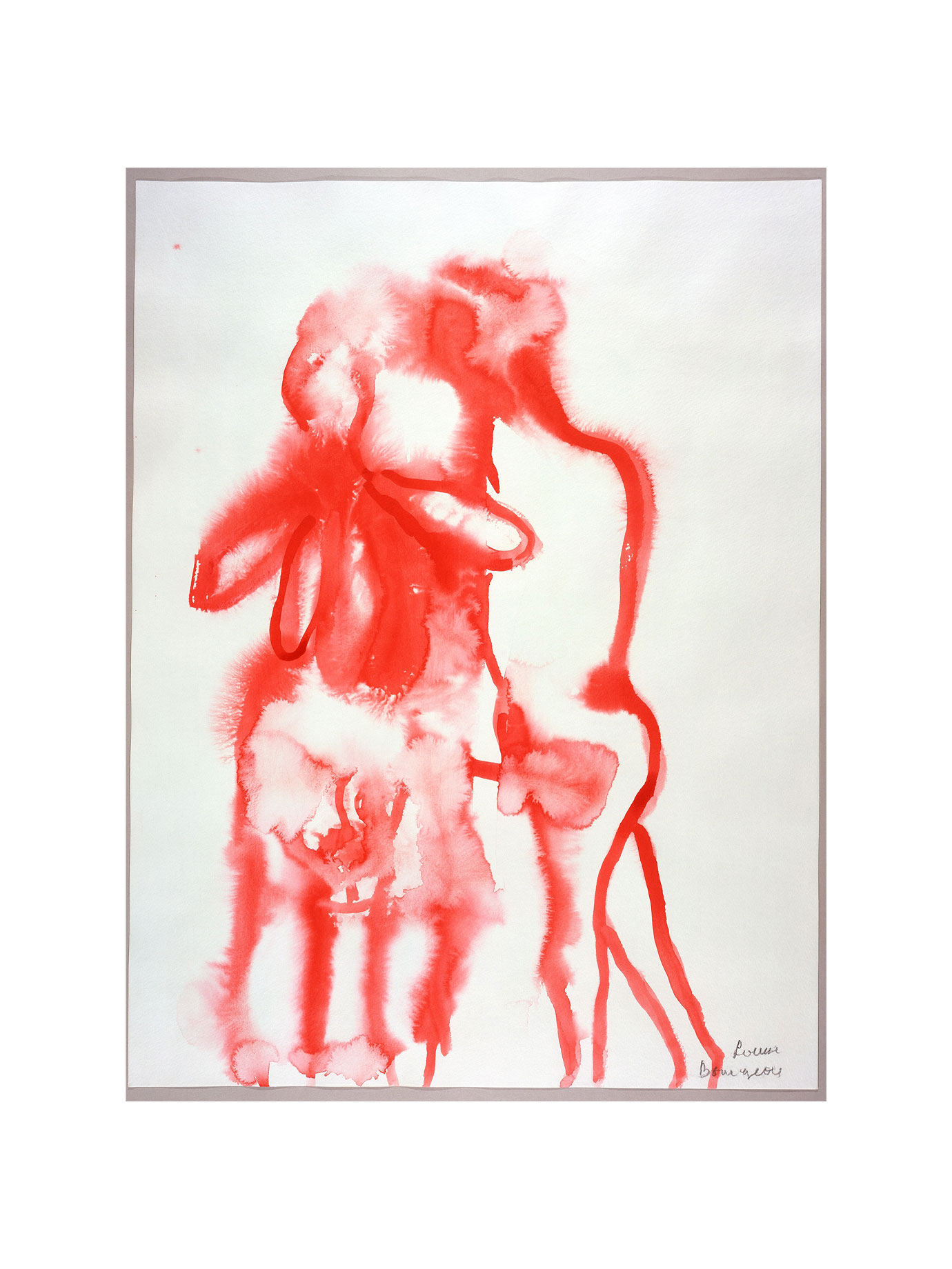 A simple abstract drawing in red of two people hugging.