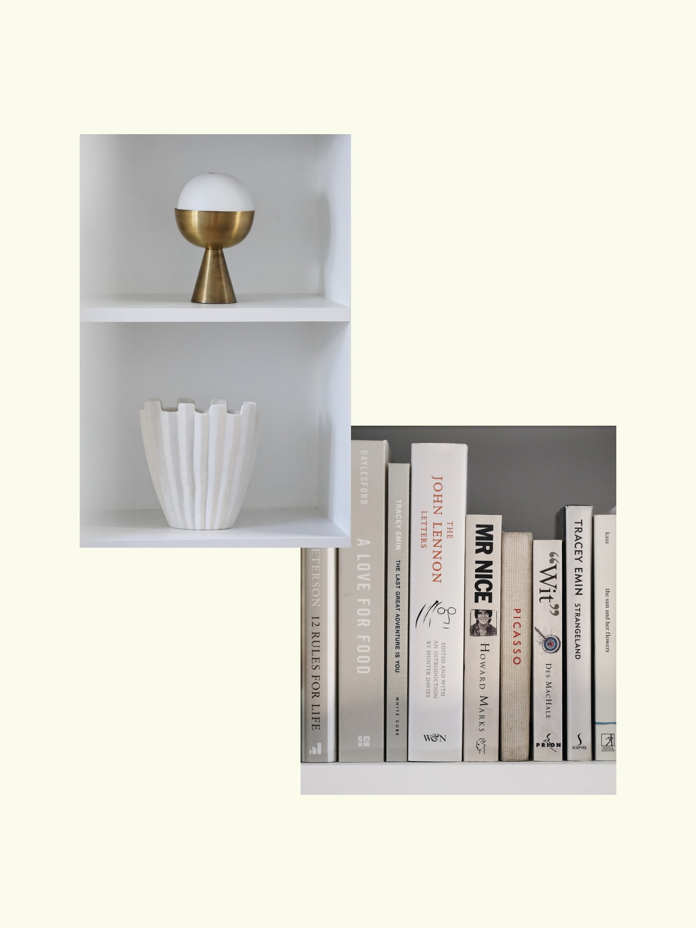 image collage of decorated shelves