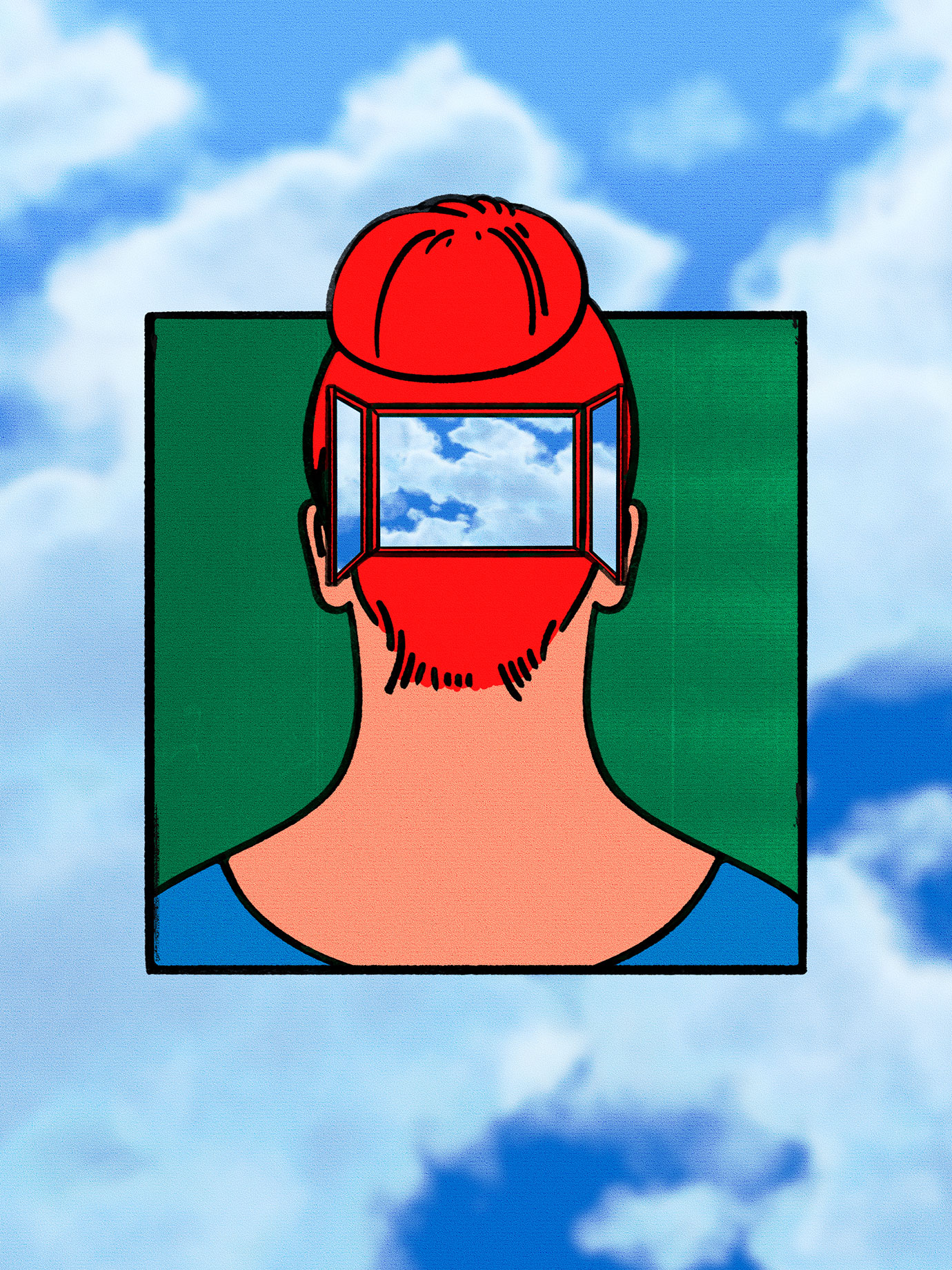 illustration of the back of a woman's head with a window and clouds in it.