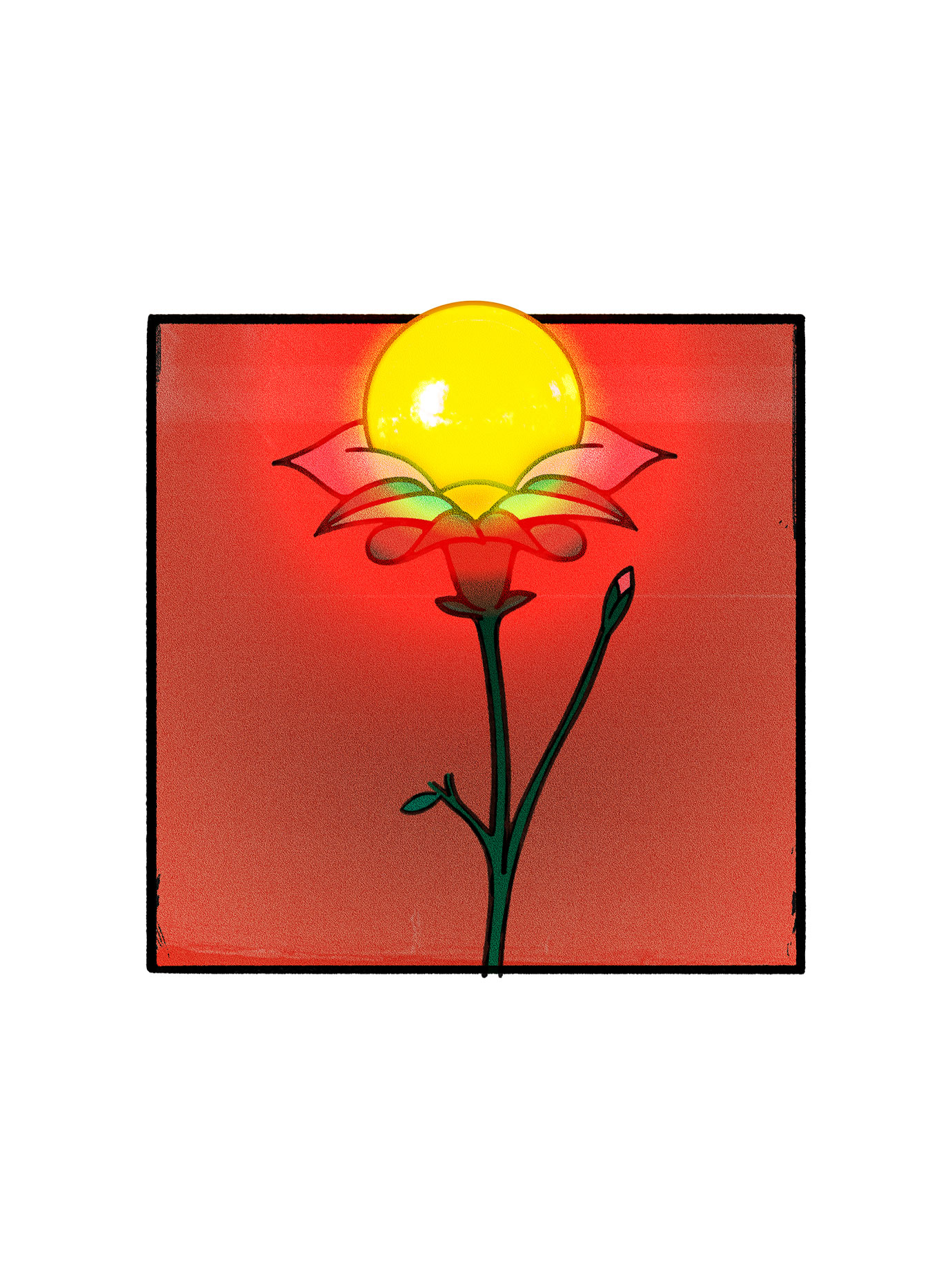 illustration of a flower with the sun at its centre.