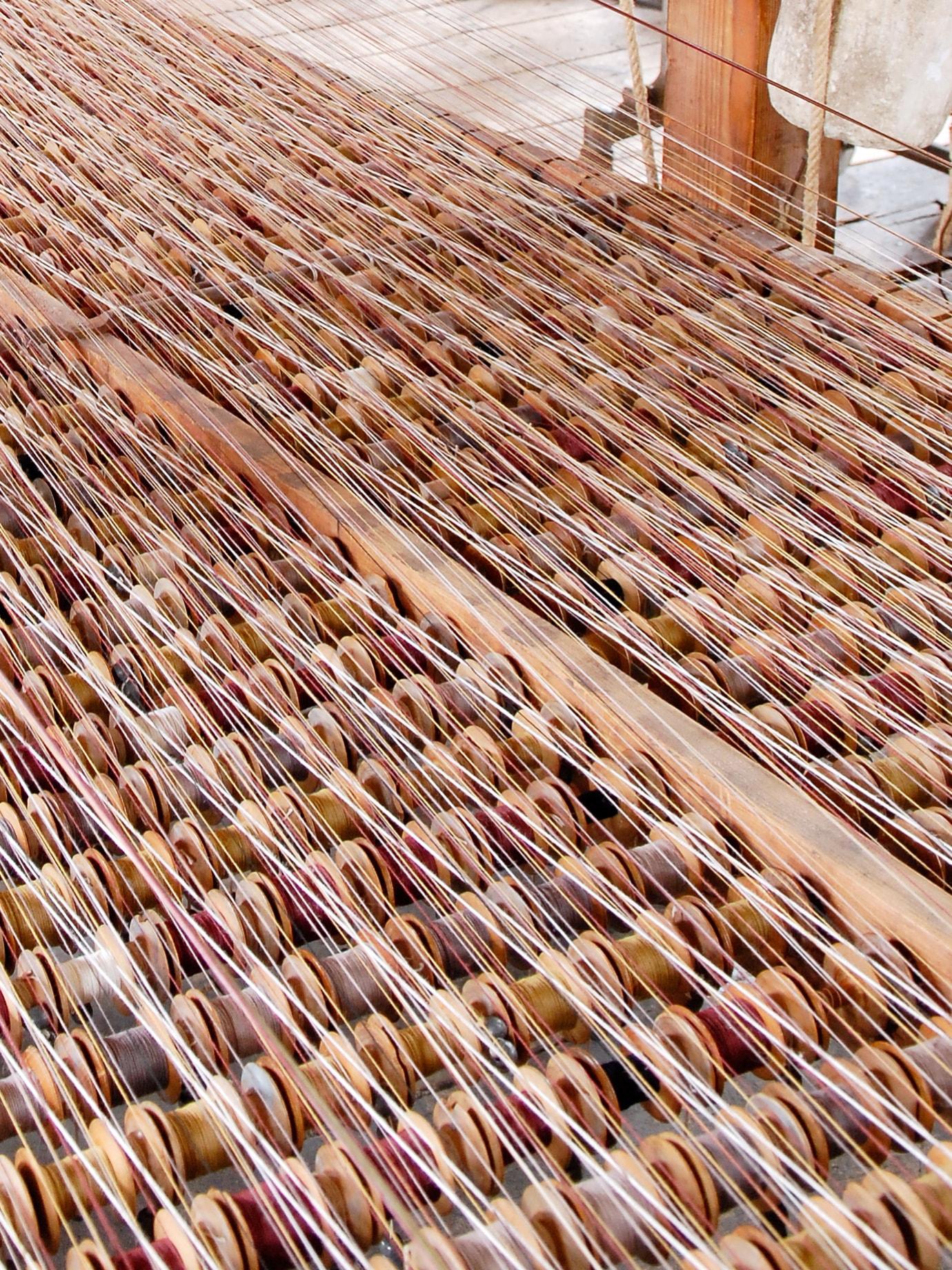 A detail of a weaving machine.