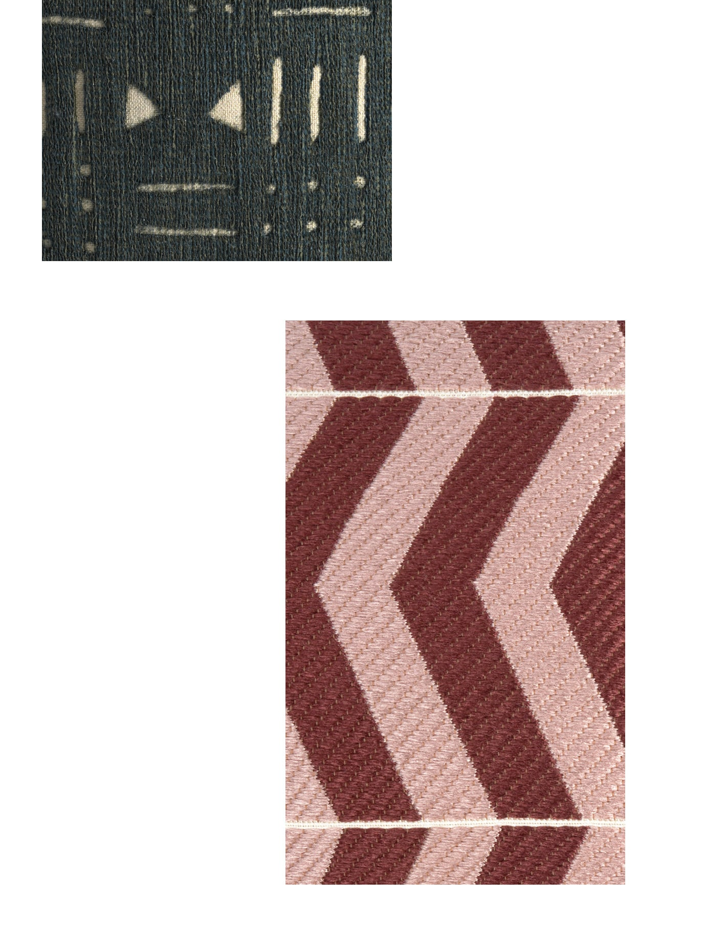 Two fabric swatches.