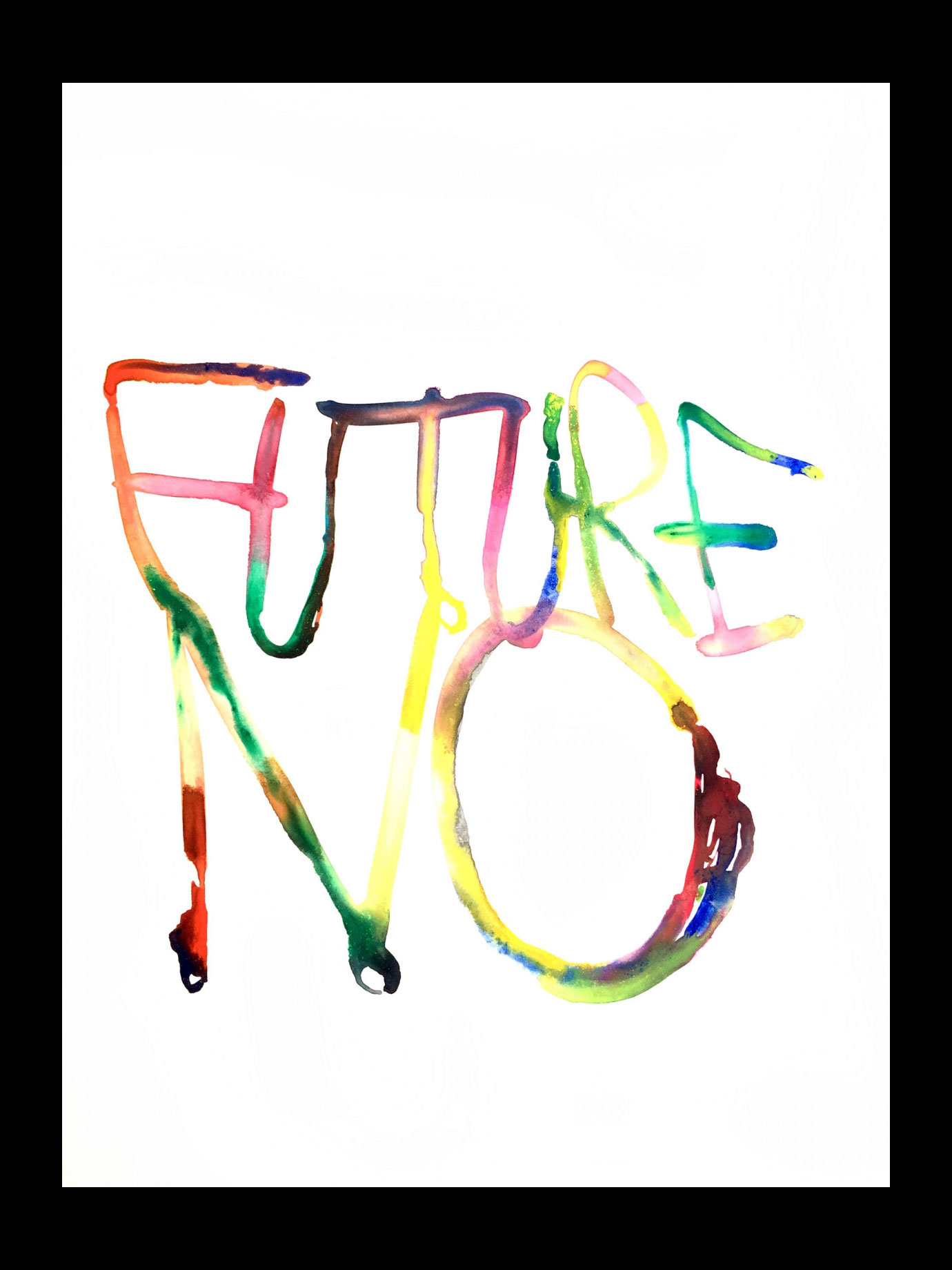 A colourful grafitti painting with Future No written.