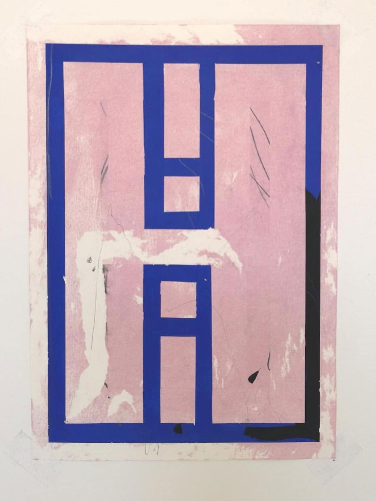 A blue lined abstract painting on pink.